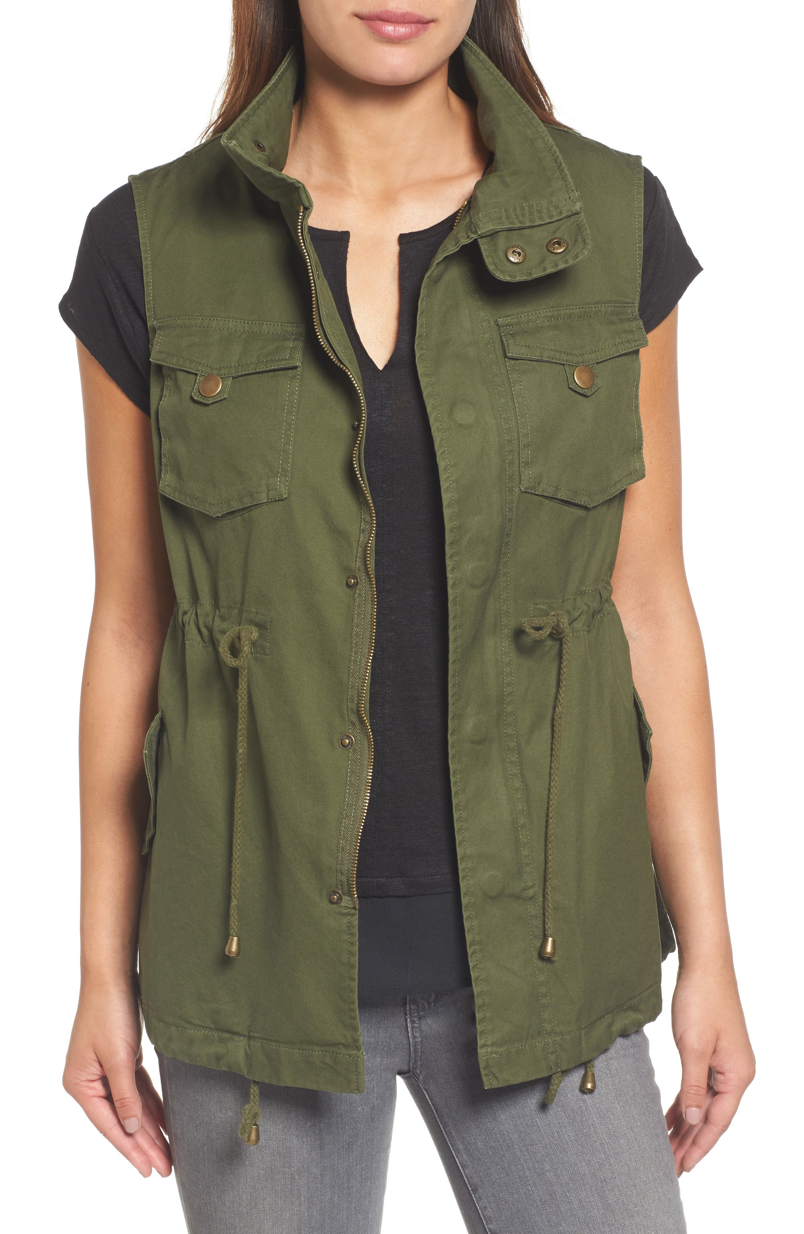 Cotton Twill Military Vest,                         Main,                         color, Army Green