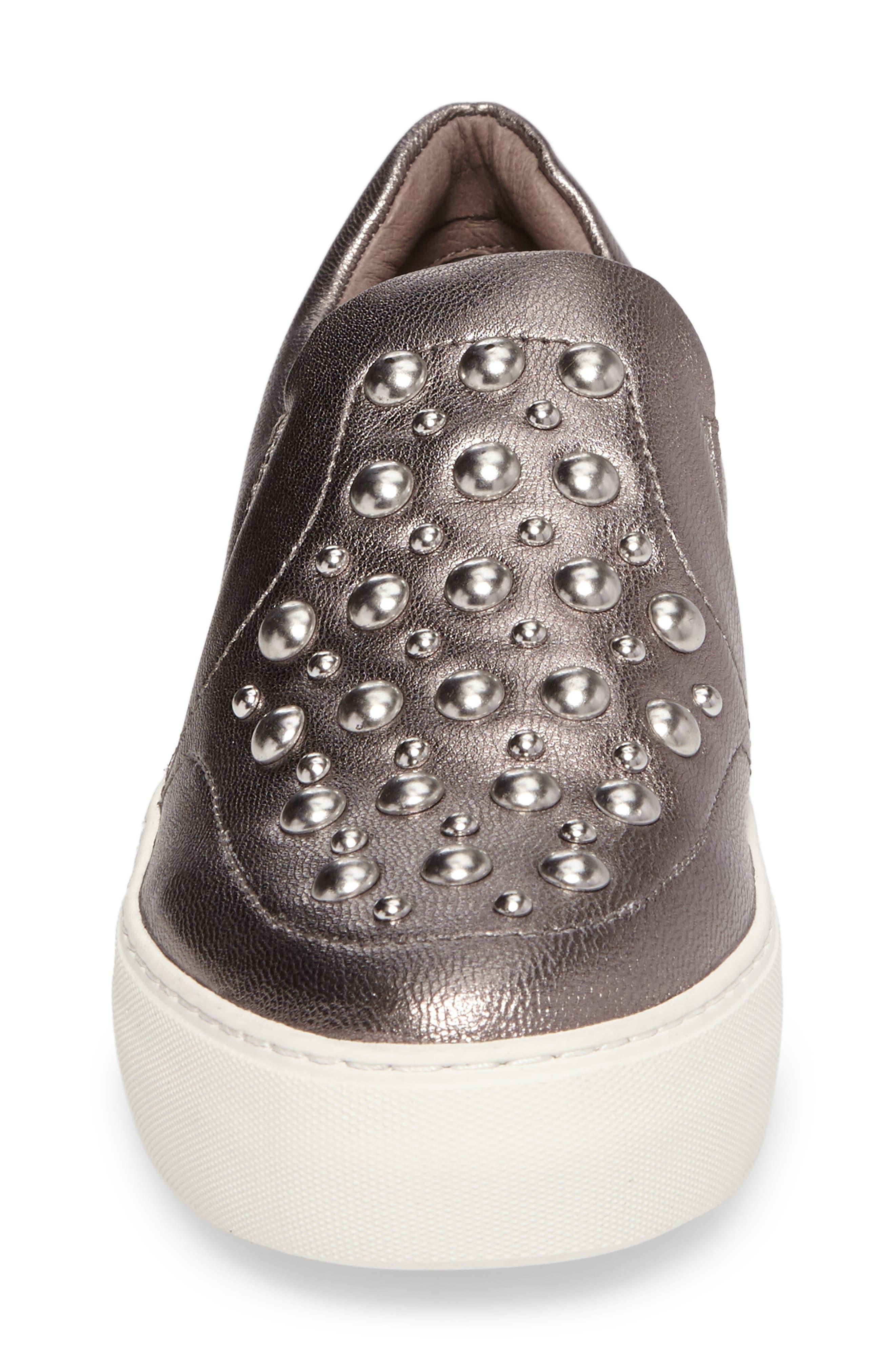 Atom Slip-On Platform Sneaker,                             Alternate thumbnail 4, color,                             Pewter Leather