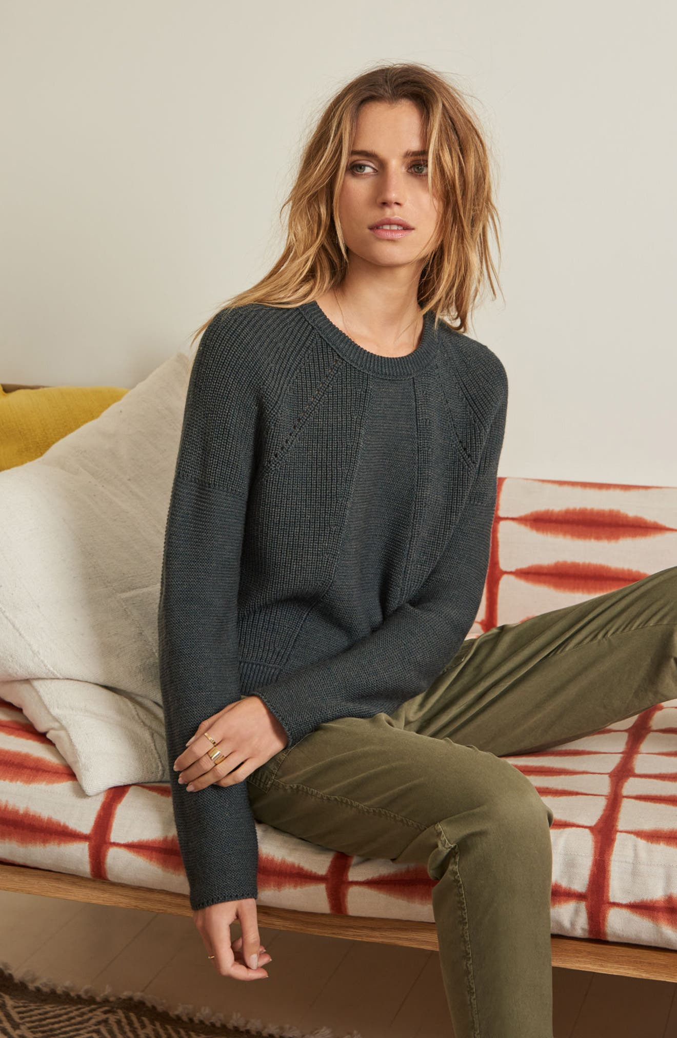 Engineered Stitch Sweater,                             Alternate thumbnail 2, color,                             Military