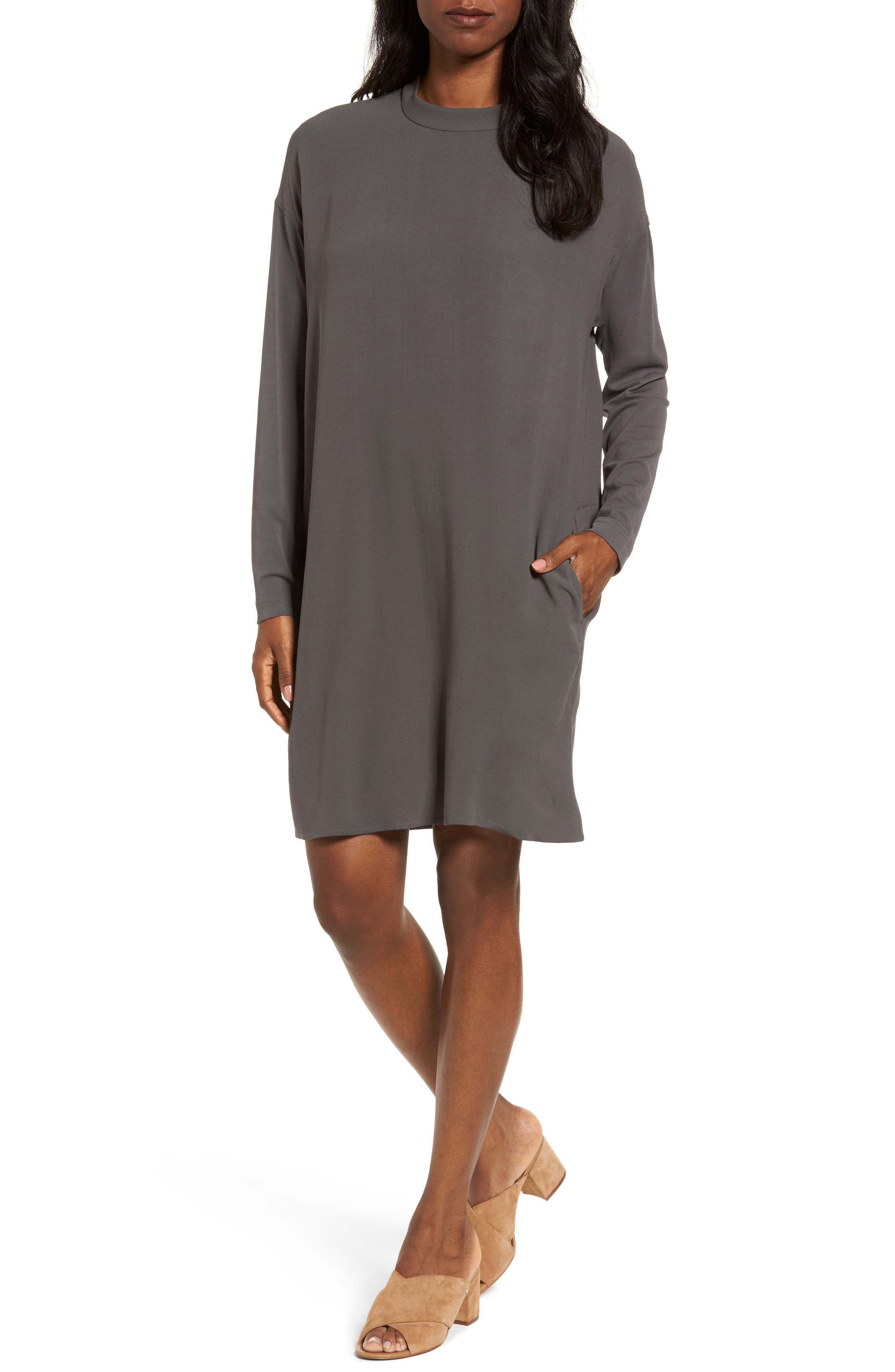 Silk Shift Dress,                         Main,                         color, Bark