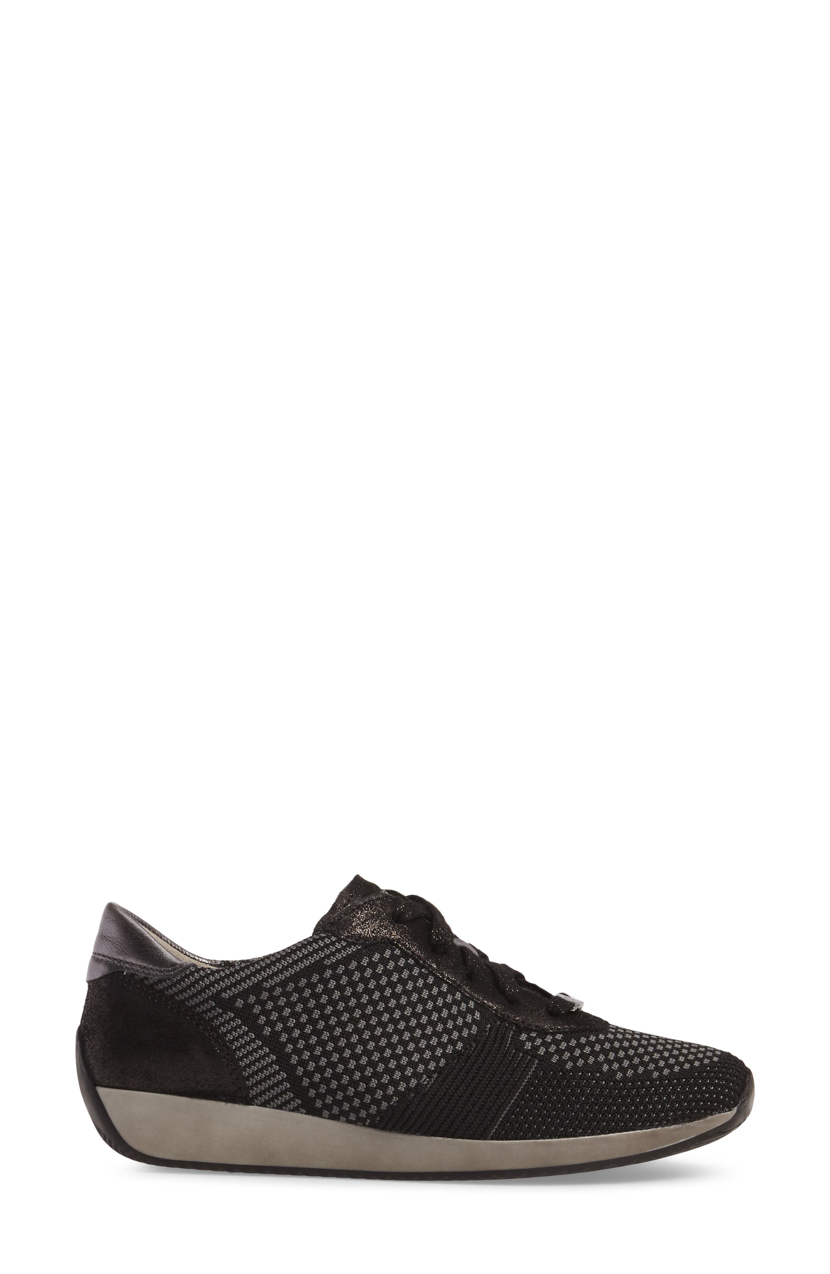 Lilly Sneaker,                             Alternate thumbnail 3, color,                             Black Leather