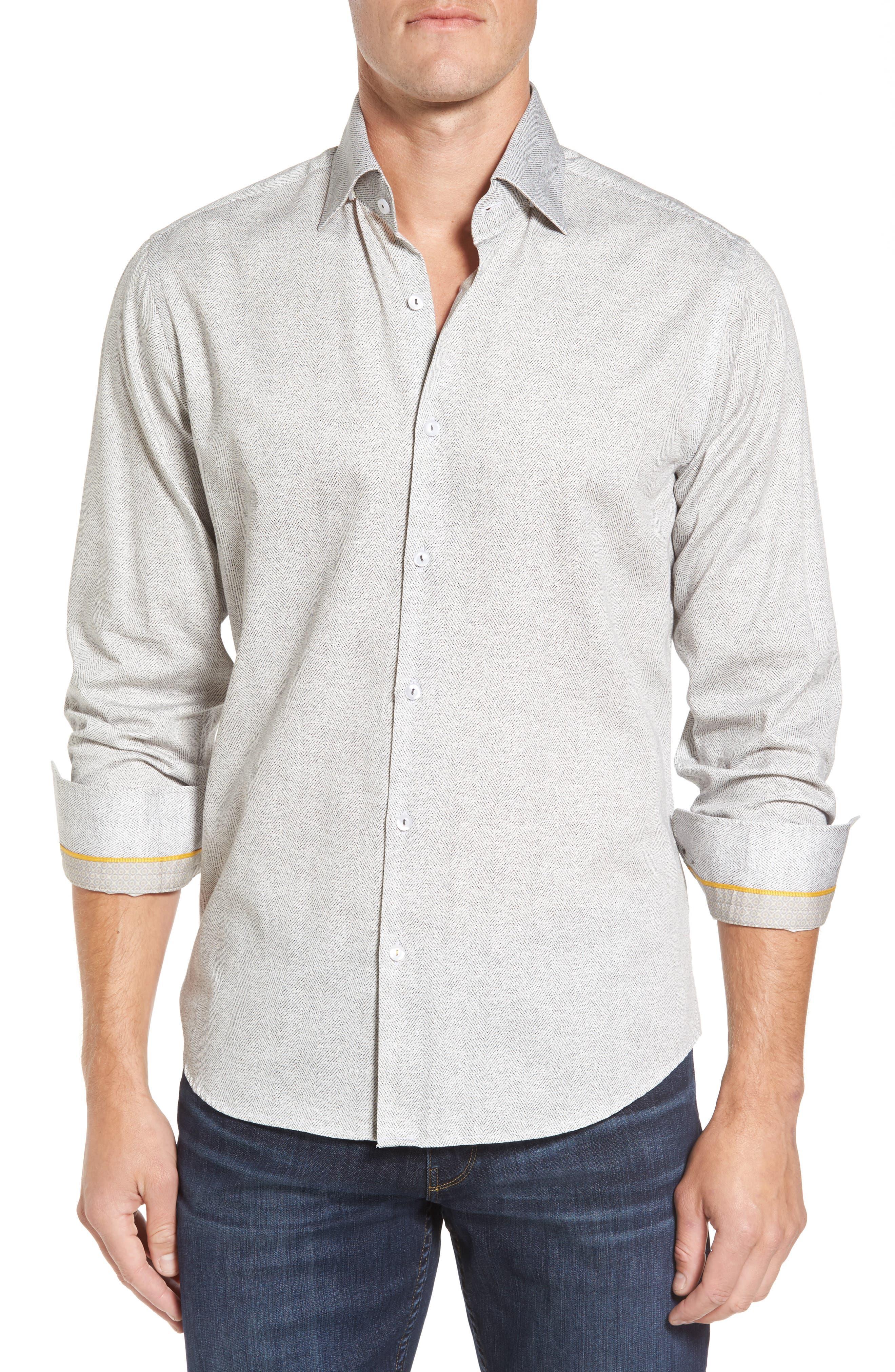 Stone Rose Slim Fit Herringbone Print Sport Shirt