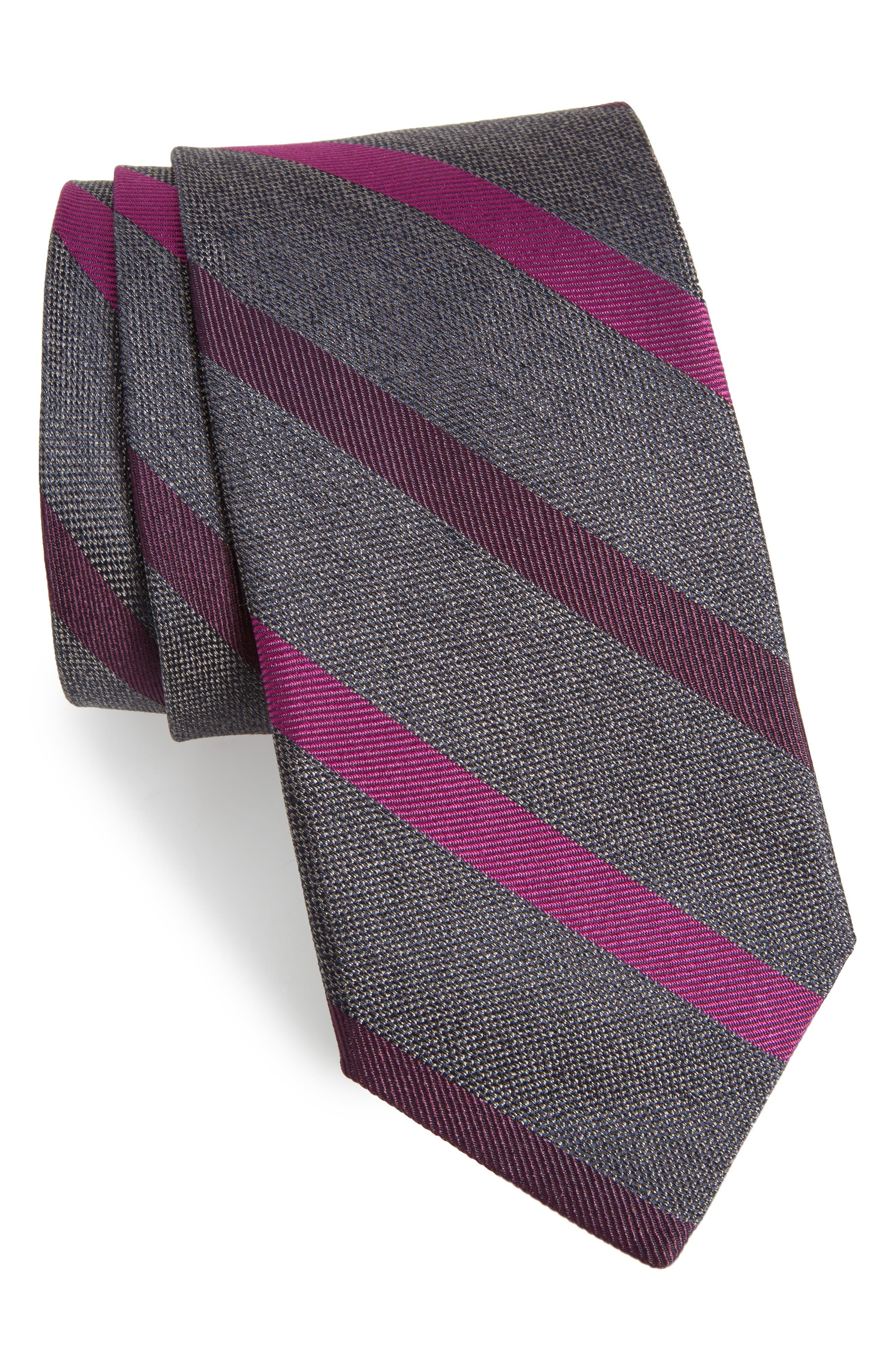 Stripe Silk Tie,                         Main,                         color, Grey/ Raspberry