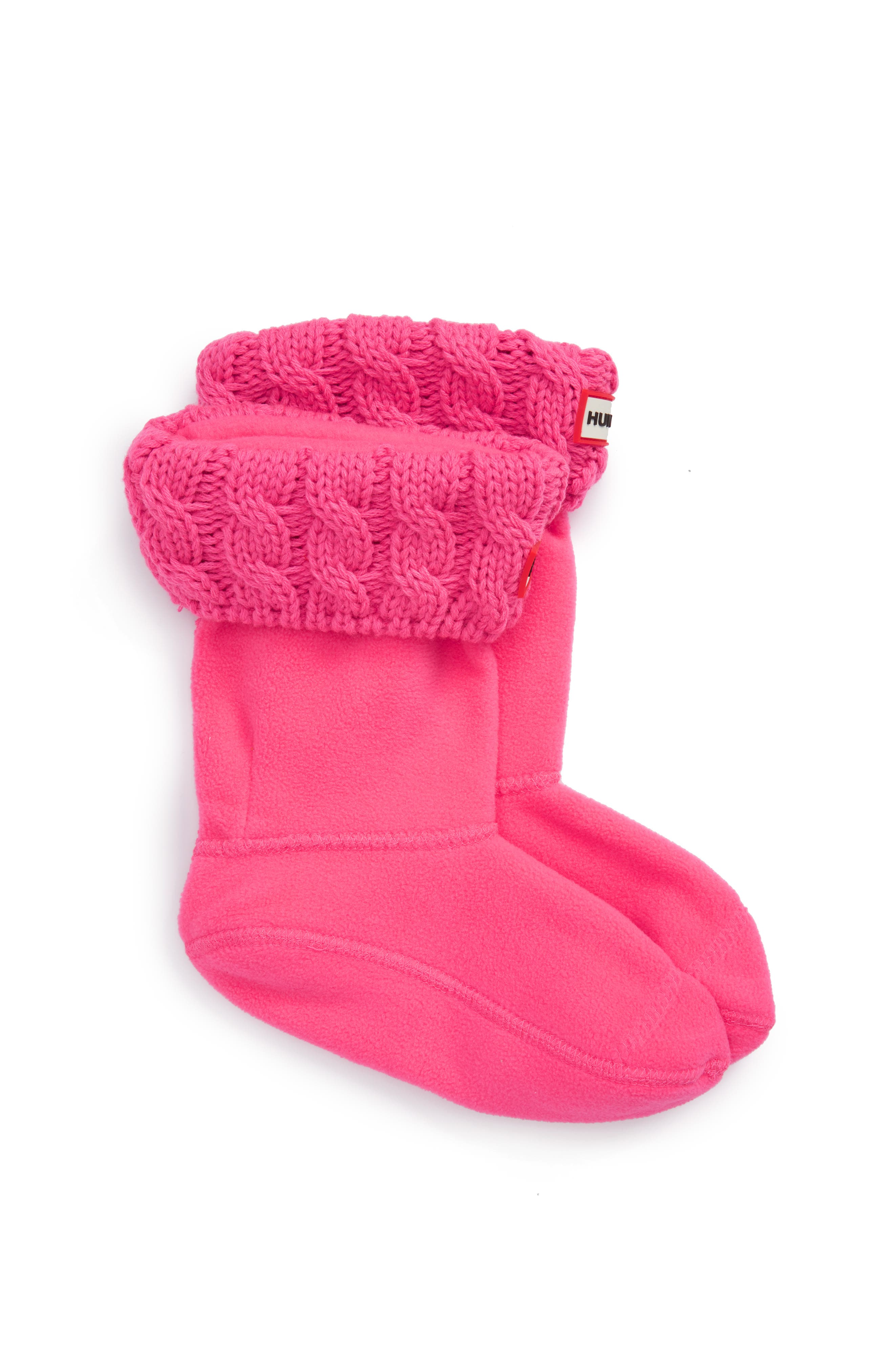 Cable Knit Cuff Welly Boot Socks,                             Main thumbnail 1, color,                             Ion Pink