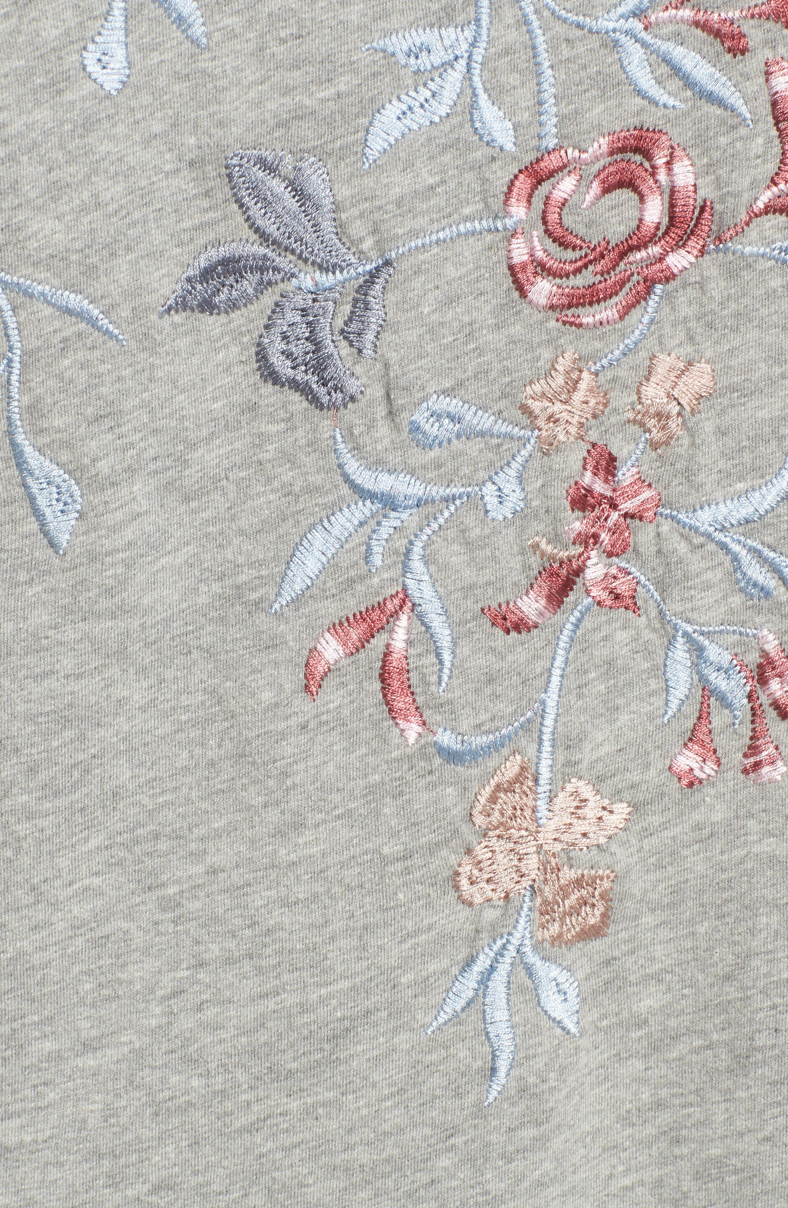 Floral Embroidered Tee,                             Alternate thumbnail 5, color,                             Heather Grey
