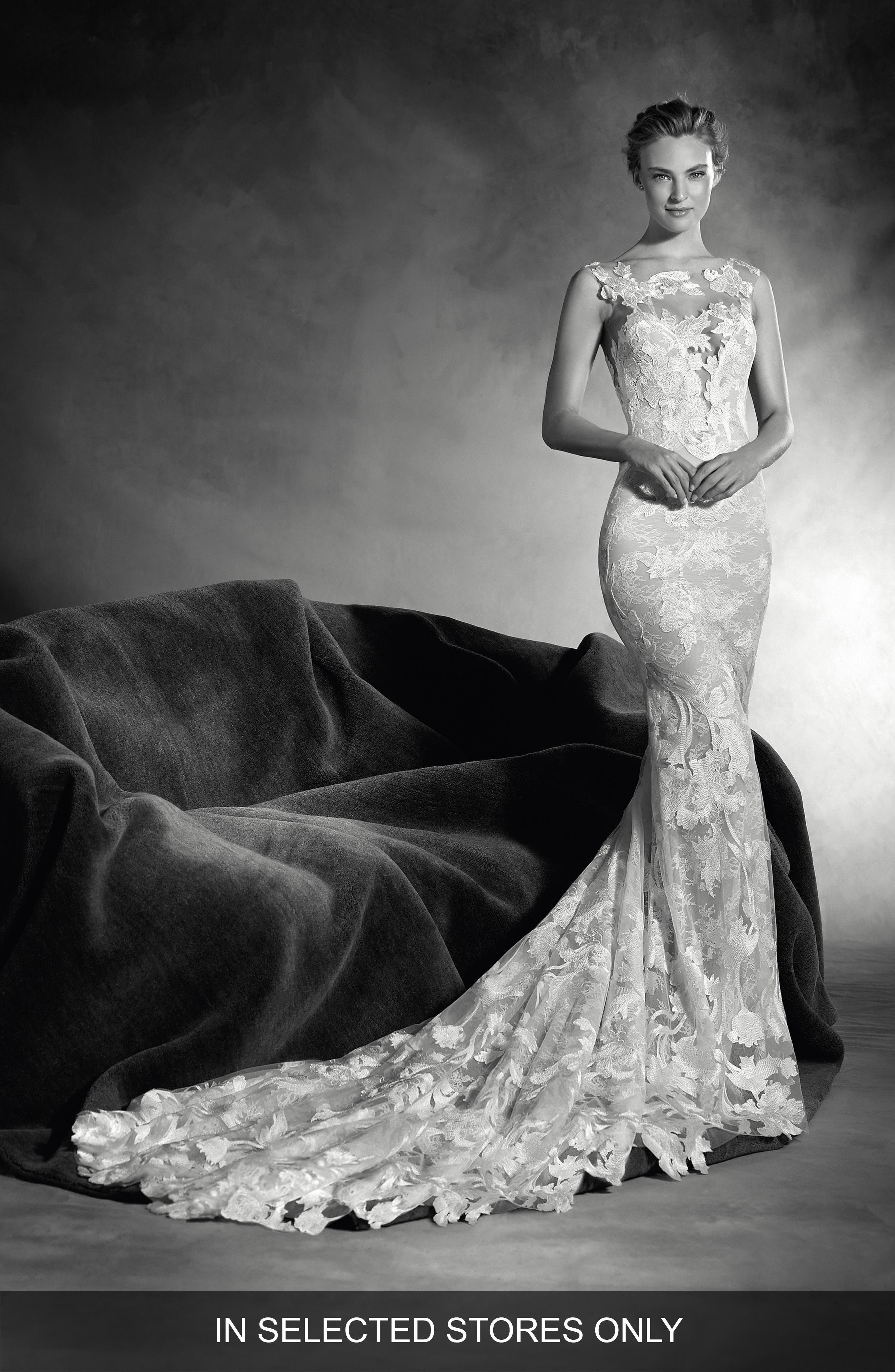 Alternate Image 1 Selected - Atelier Pronovias Niebla Embellished Mermaid Gown