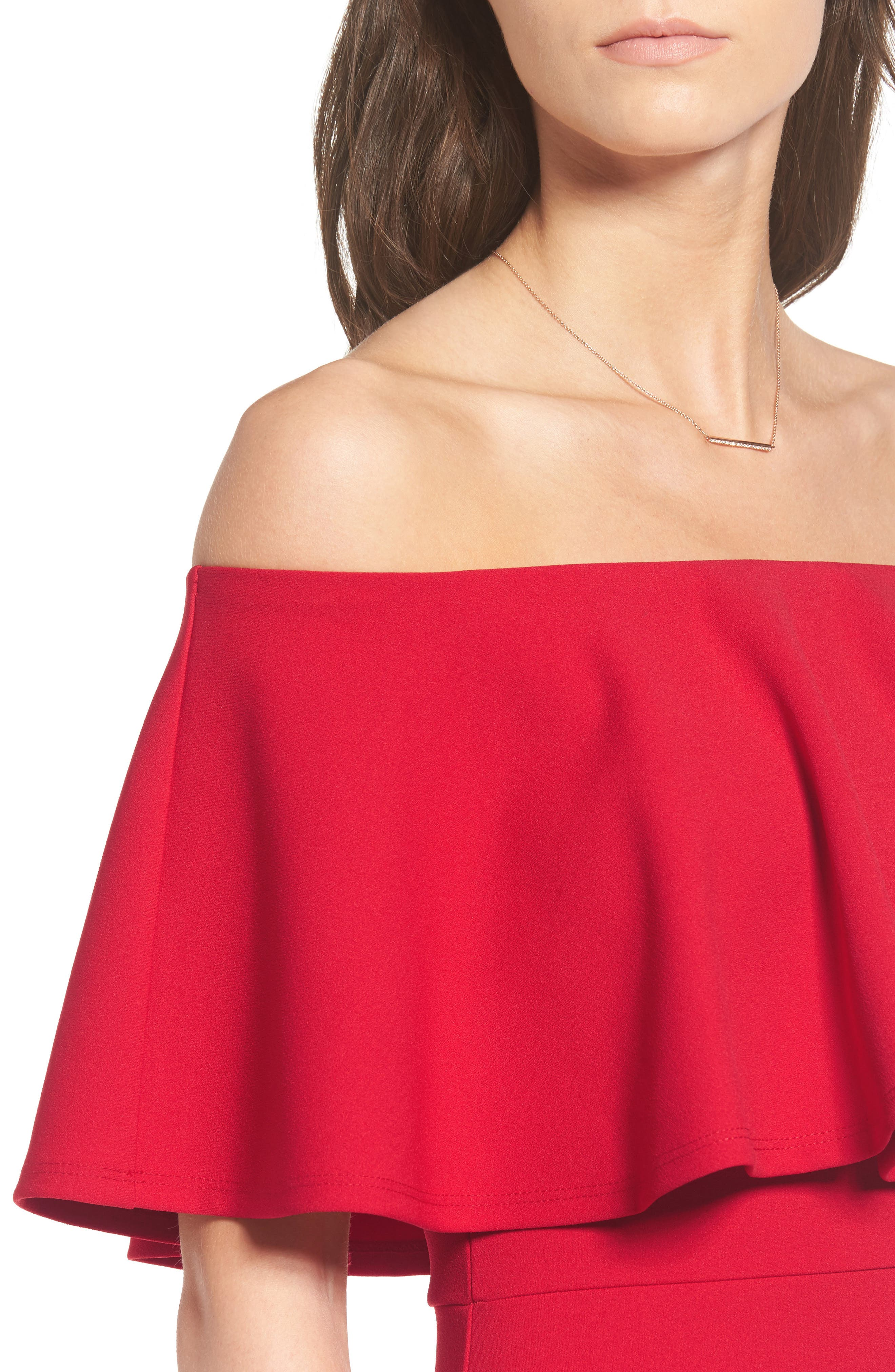 Ruffle Off the Shoulder Body-Con Dress,                             Alternate thumbnail 11, color,                             African Red