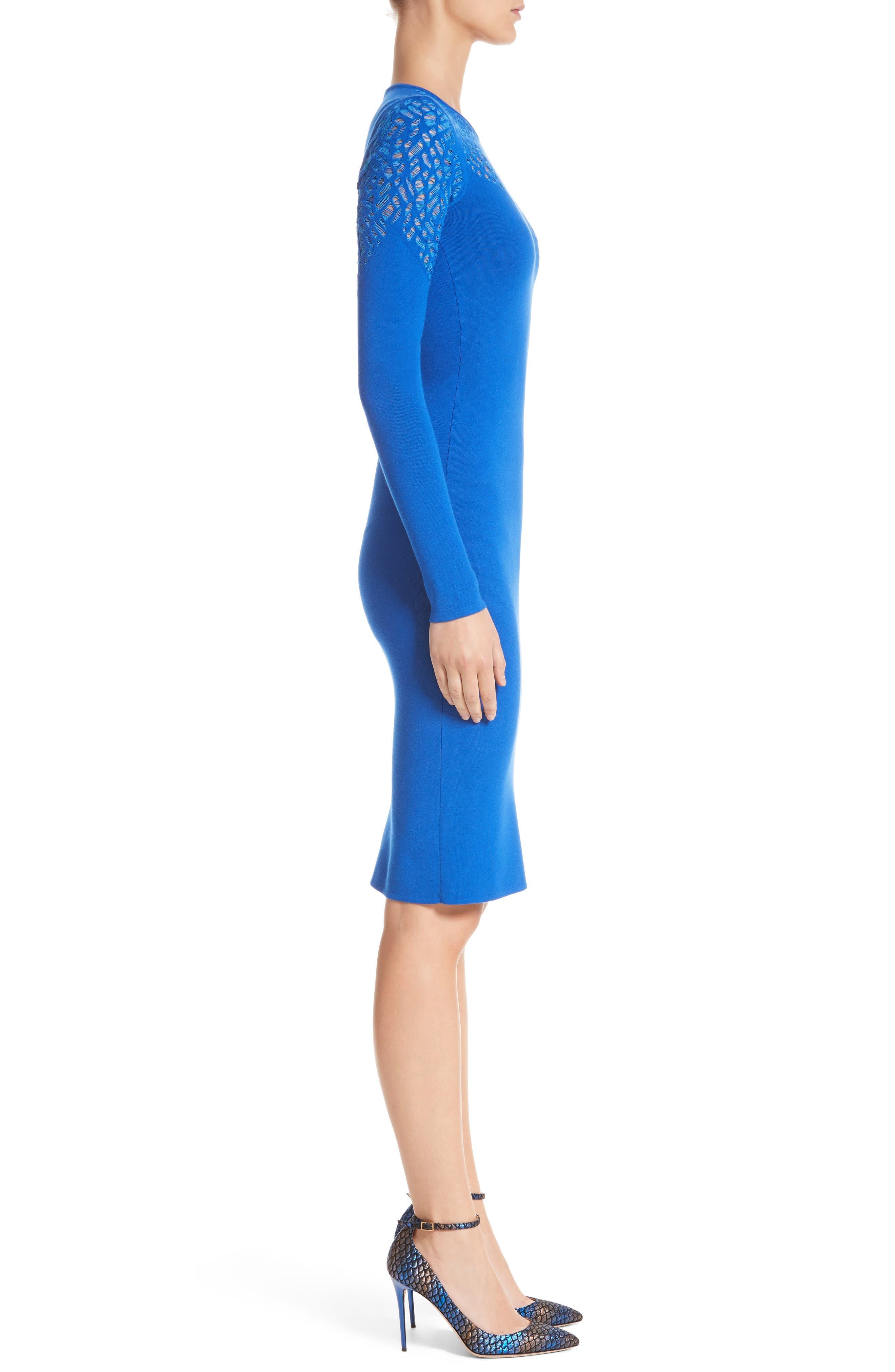 Contrast Stitch Knit Dress,                             Alternate thumbnail 3, color,                             Royal Blue/ Light Blue