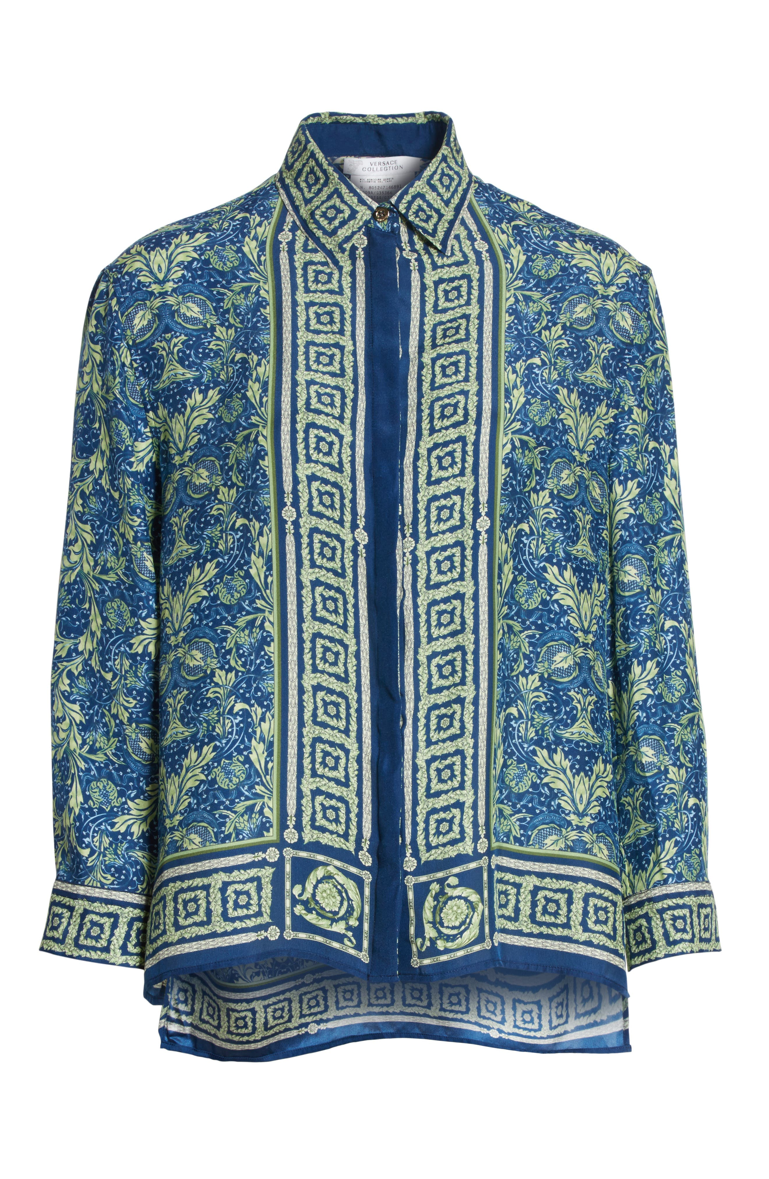 Alternate Image 6  - Versace Collection Acanthus Print Silk Blouse