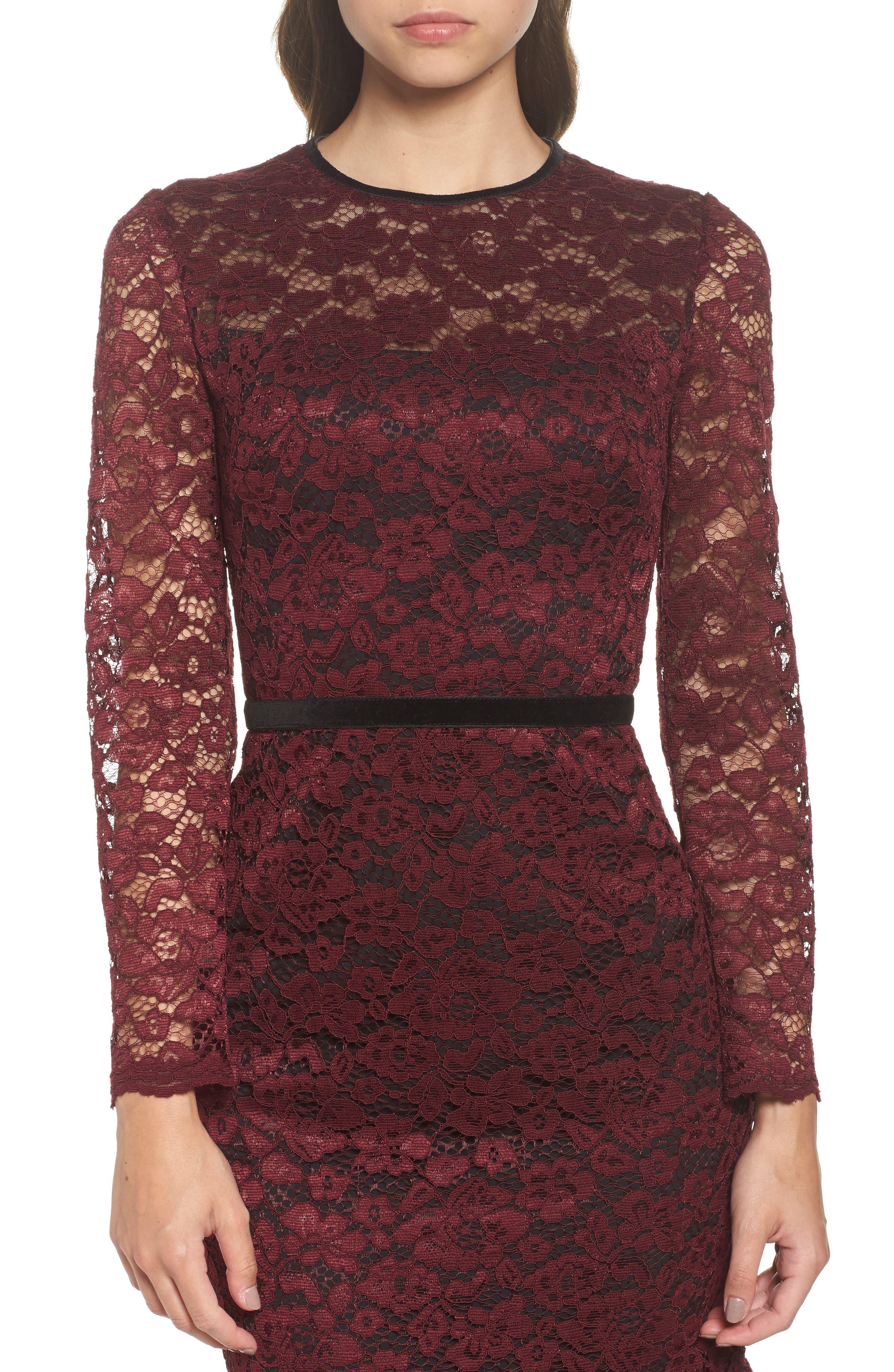 Lace Midi Dress,                             Alternate thumbnail 5, color,                             Plum Wine