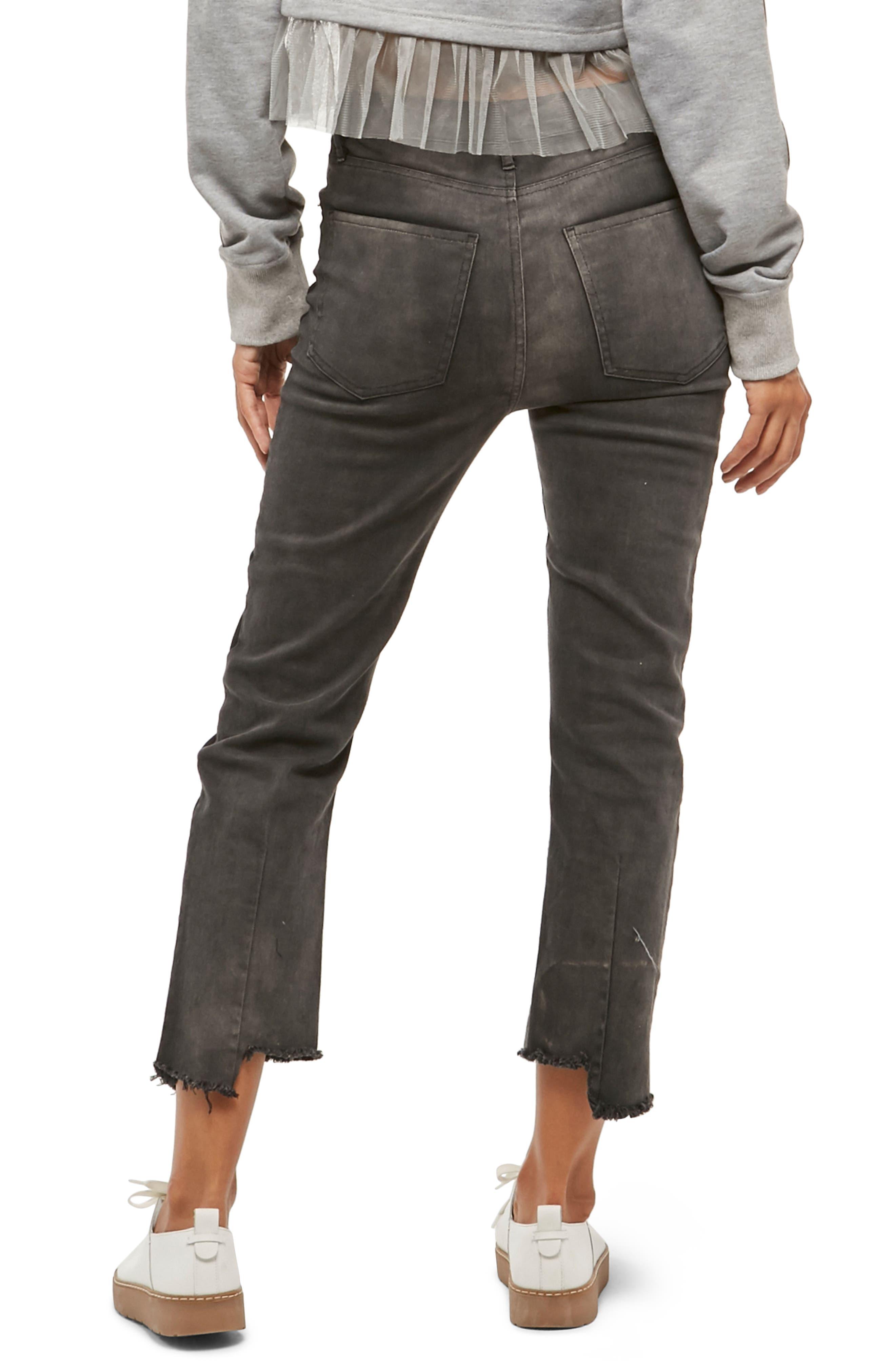 Alpha & Omega Two-Tone Crop Jeans,                             Alternate thumbnail 2, color,                             Black