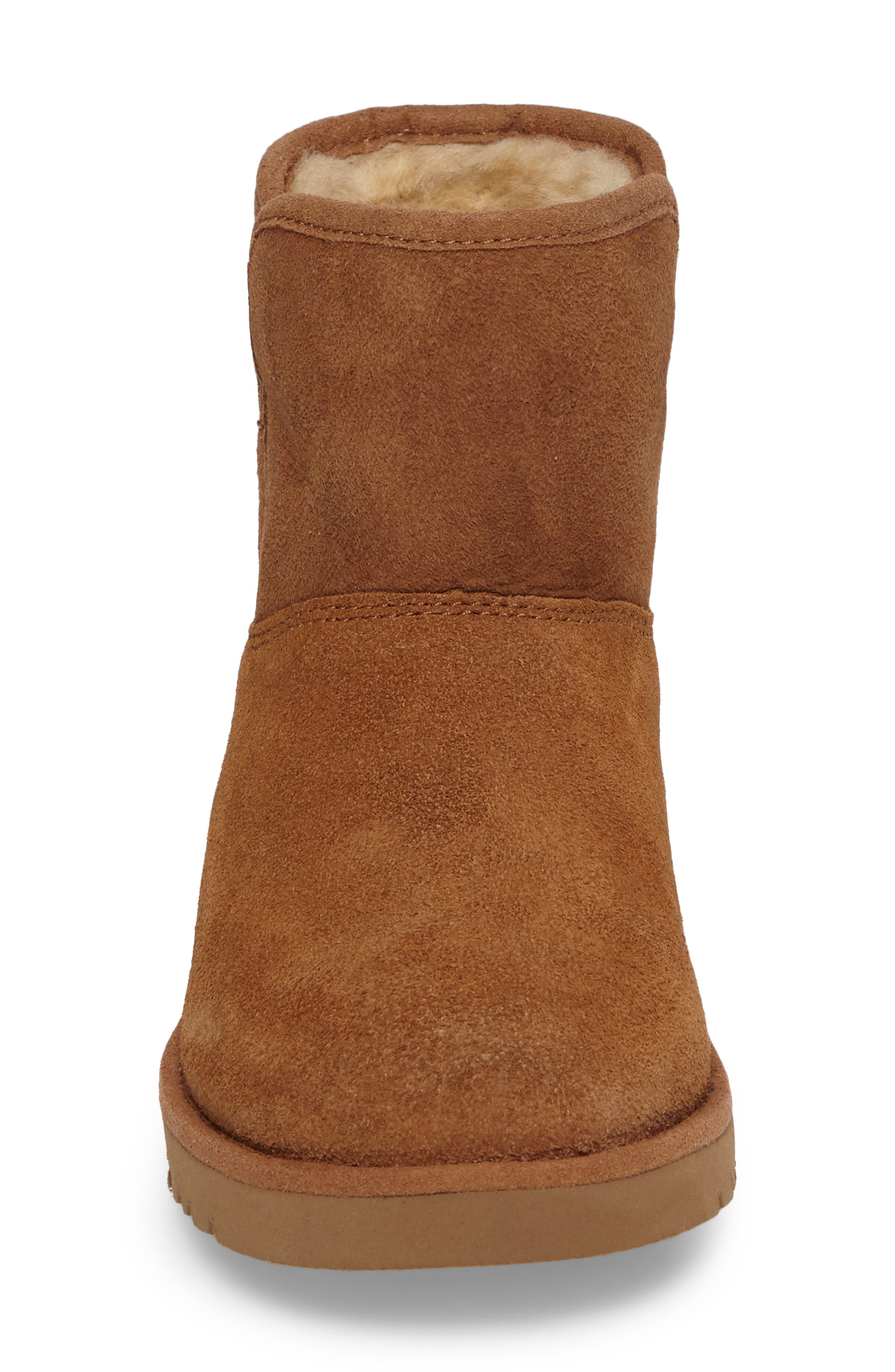 Katalina II Water-Resistant Genuine Shearling Bootie,                             Alternate thumbnail 4, color,                             Chestnut
