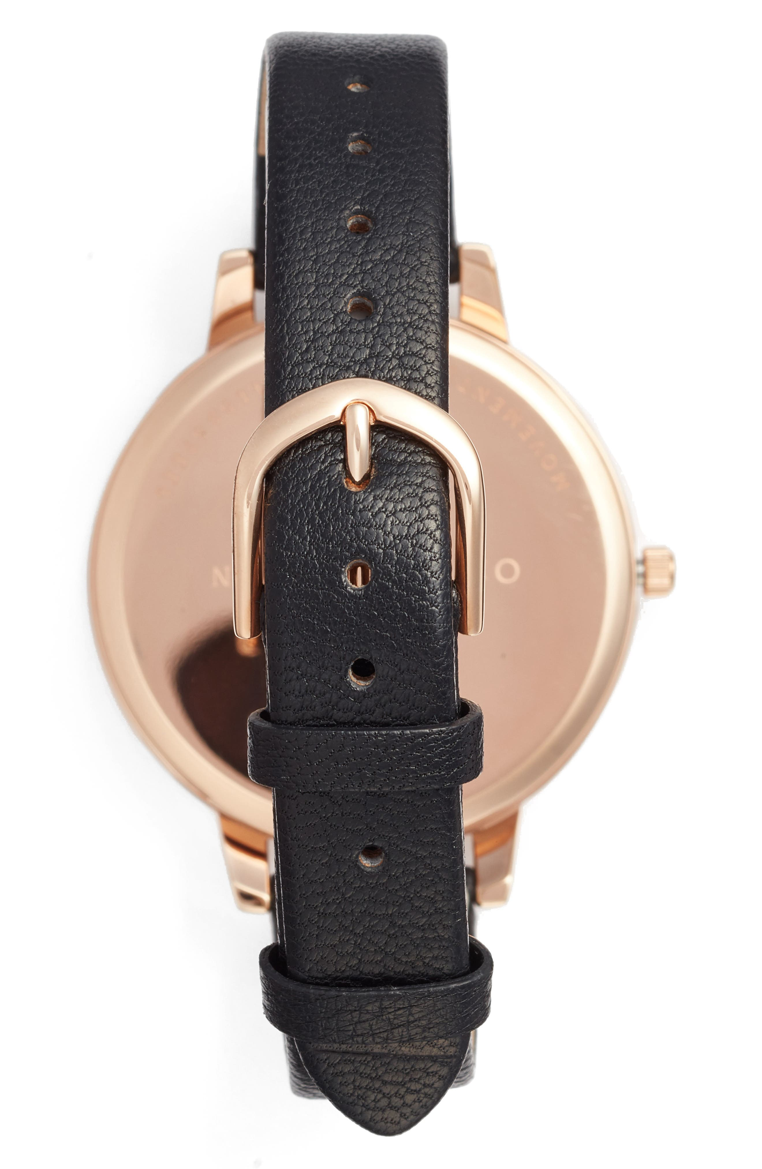 Marble Floral Leather Strap Watch, 38mm,                             Alternate thumbnail 2, color,                             Black/ Floral/ Rose Gold