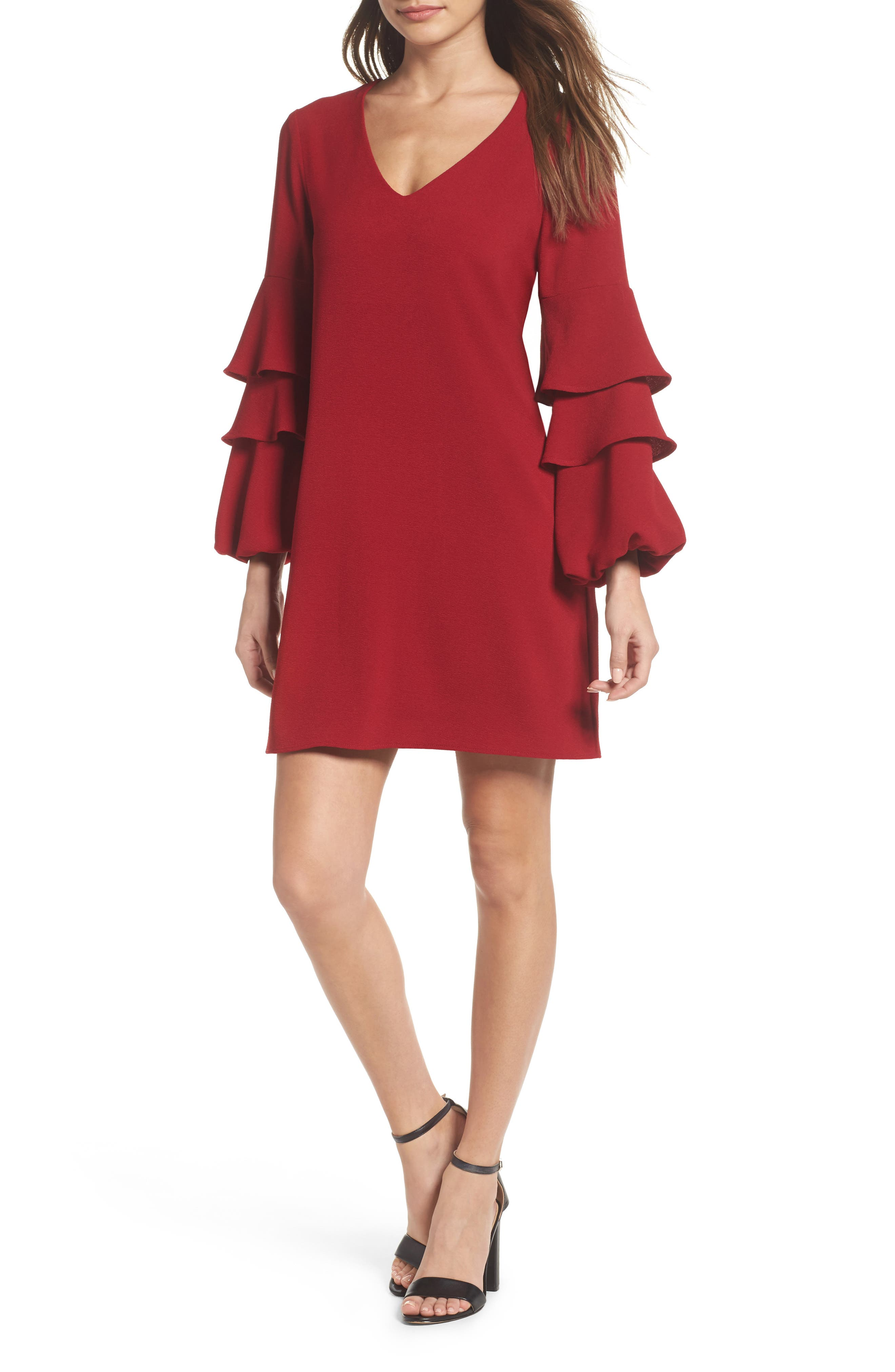 Tiered Ruffle Sleeve Dress,                         Main,                         color, Garnet