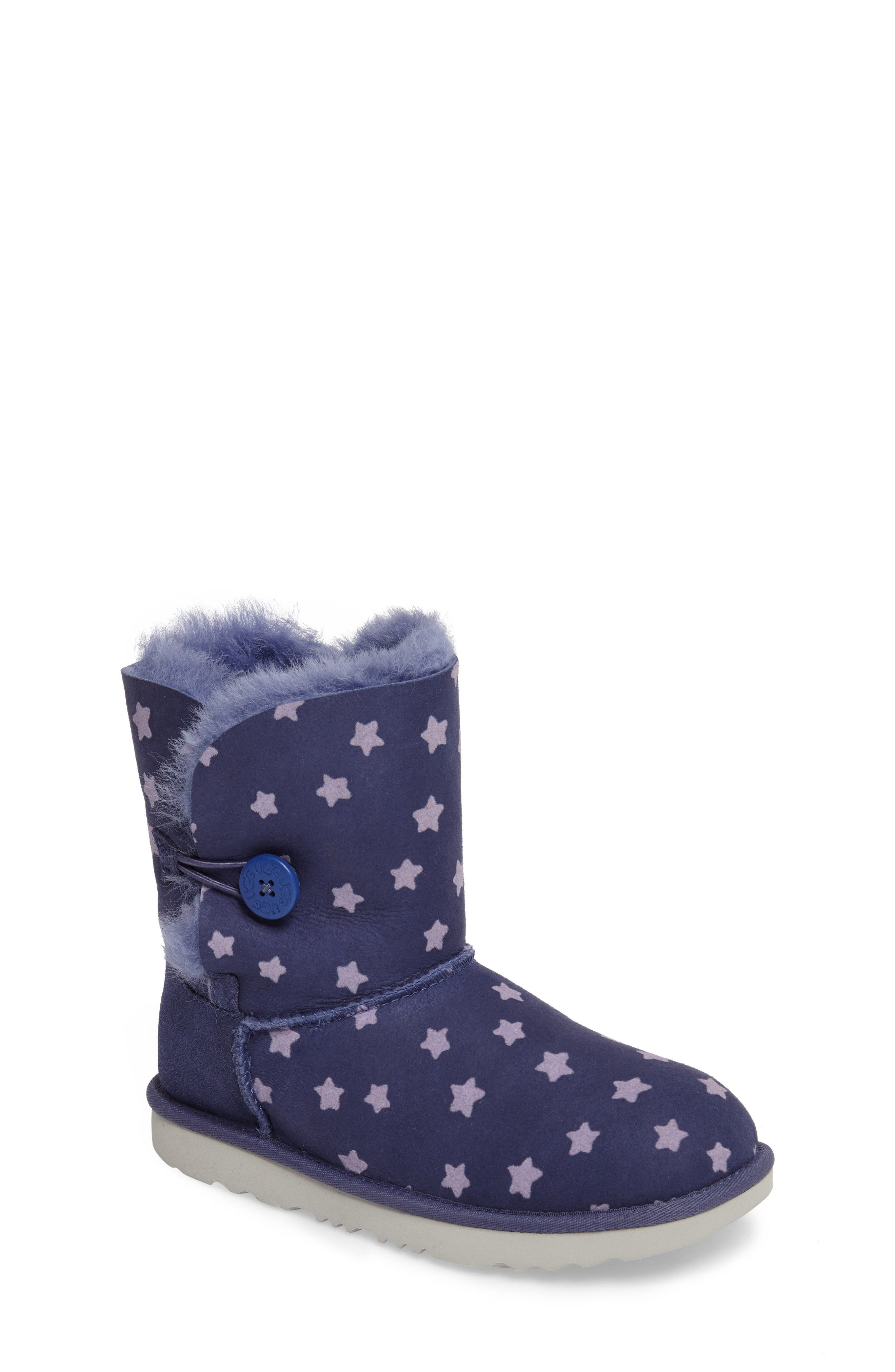 UGG® Bailey Button II Water-Resistant Genuine Shearling Stars Boot (Walker, Toddler, Little Kid & Big Kid)