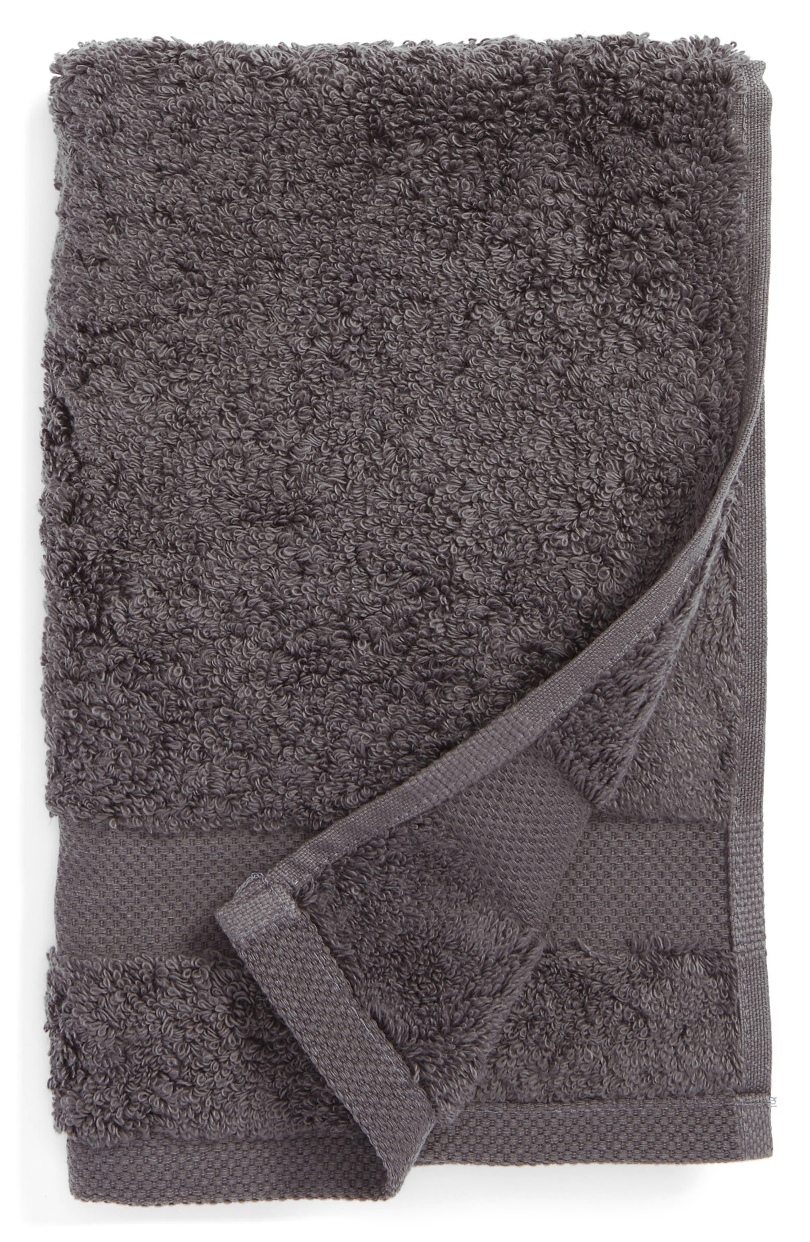 Lotus Fingertip Towel,                         Main,                         color, Charcoal