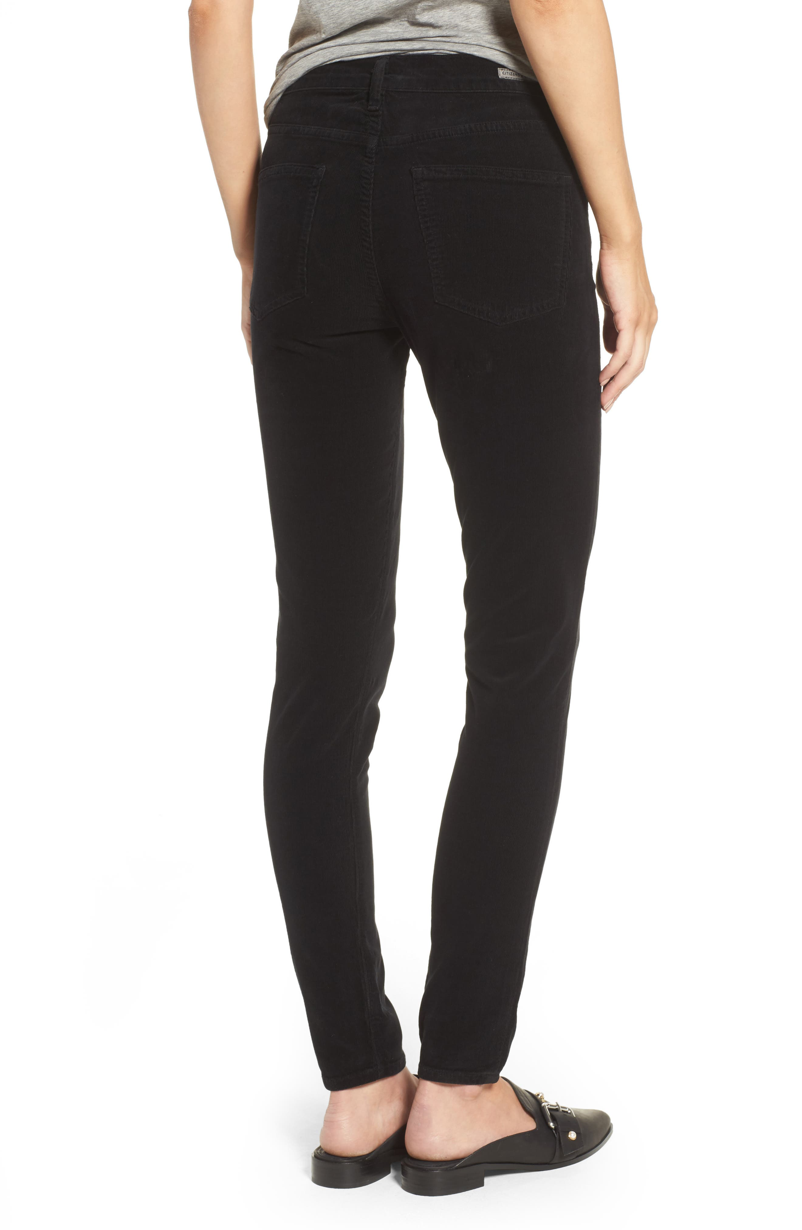 Rocket High Waist Skinny Corduroy Pants,                             Alternate thumbnail 2, color,                             Black Cord