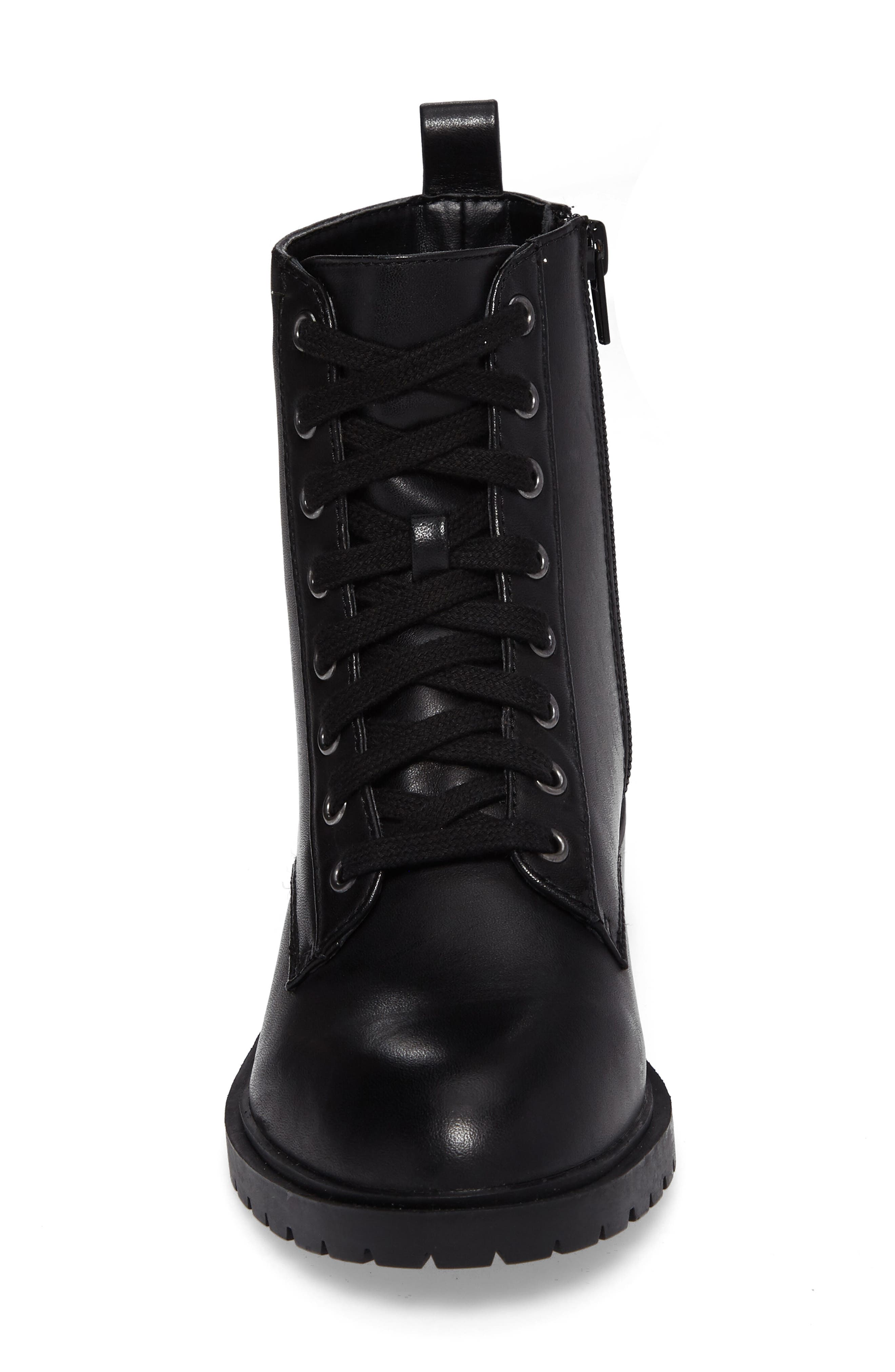 Officer Combat Boot,                             Alternate thumbnail 4, color,                             Black Leather
