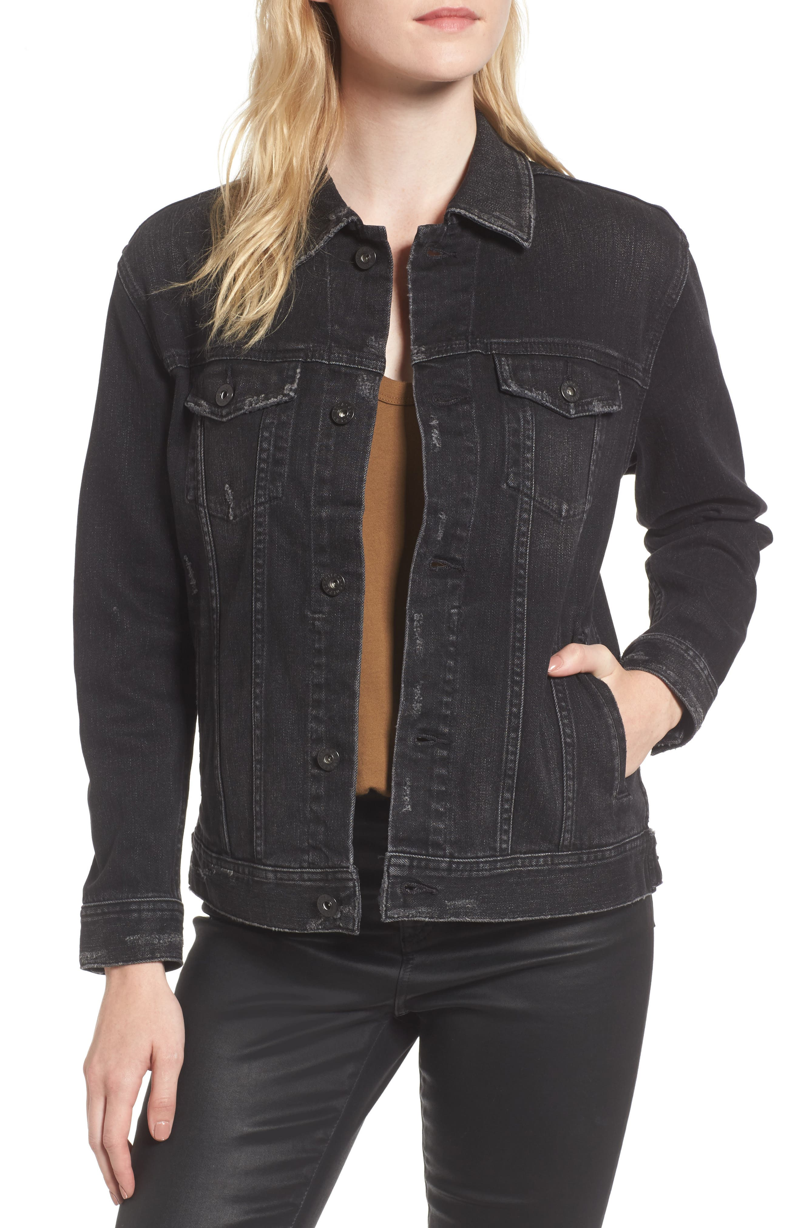 Alternate Image 1 Selected - AG Nancy Distressed Denim Jacket