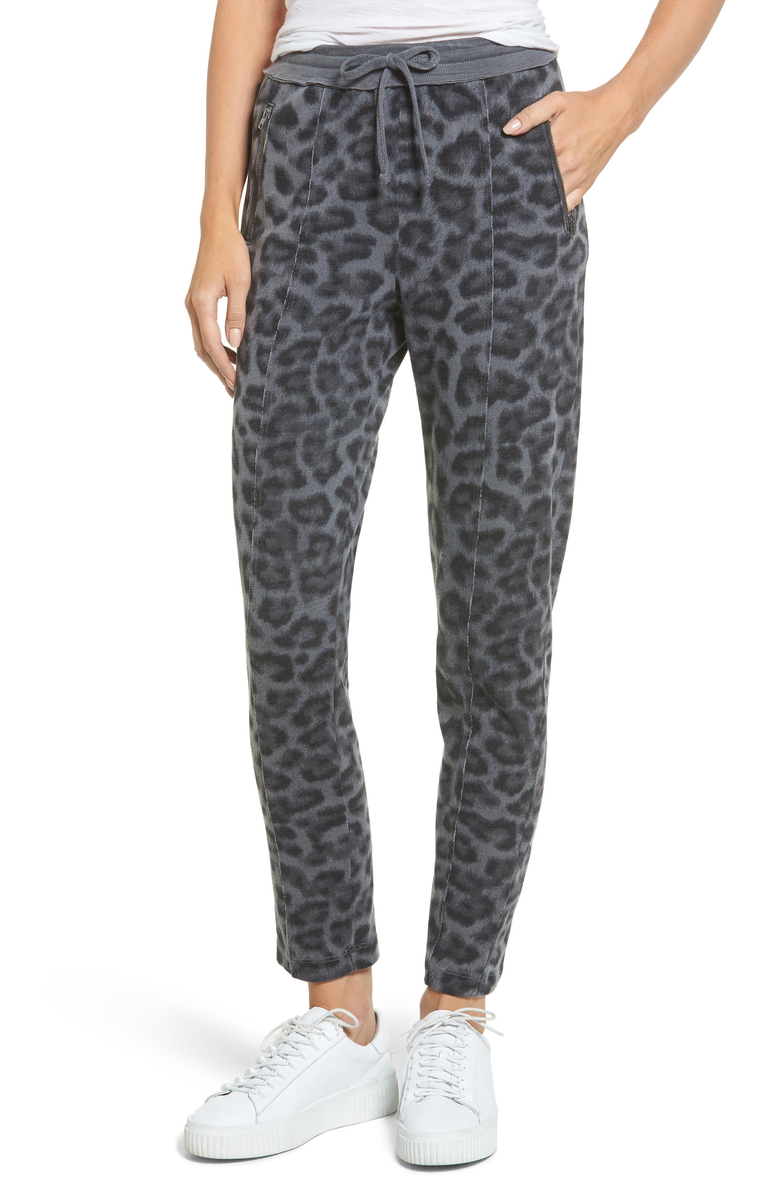 Leopard Print Jogger Pants,                             Main thumbnail 1, color,                             Lead