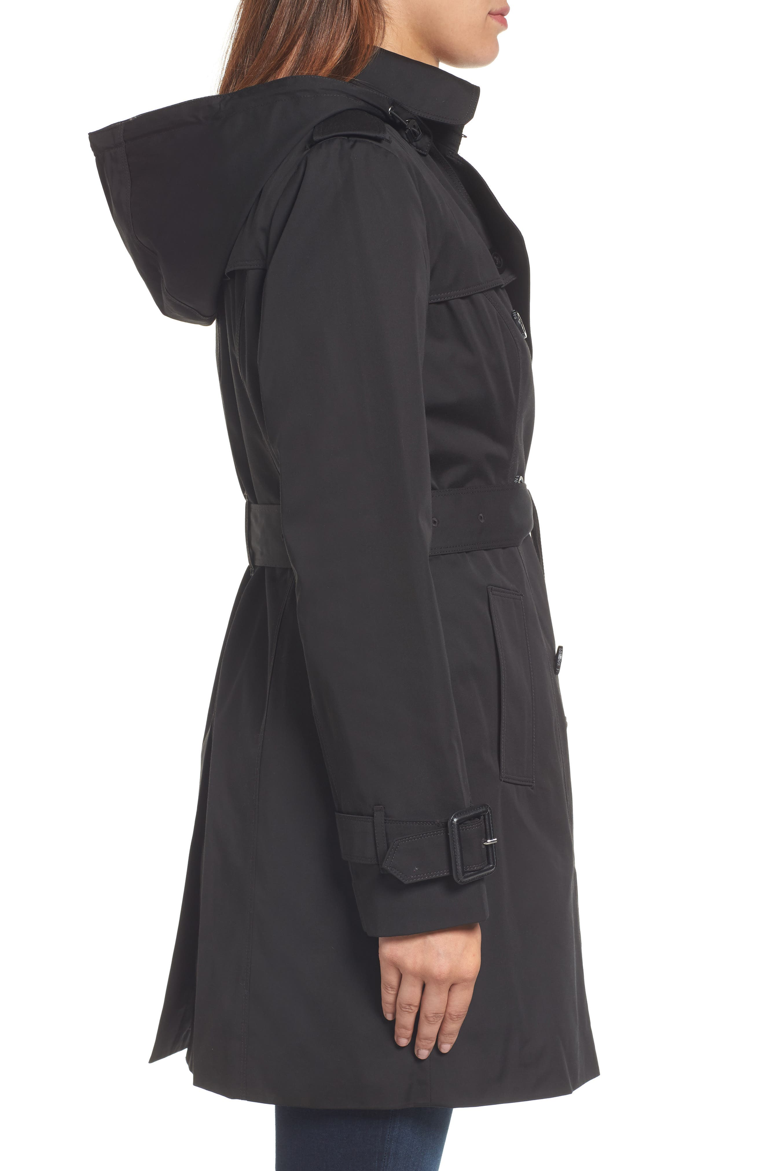 Heritage Trench Coat with Detachable Liner,                             Alternate thumbnail 4, color,                             Black
