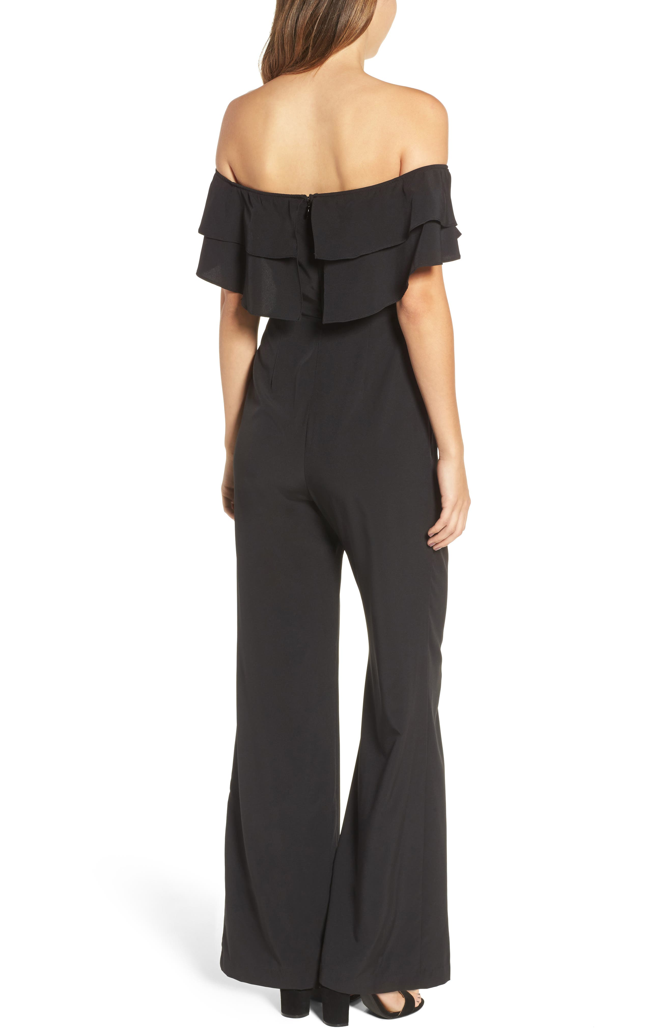 Alternate Image 2  - Socialite Ruffle Front Jumpsuit