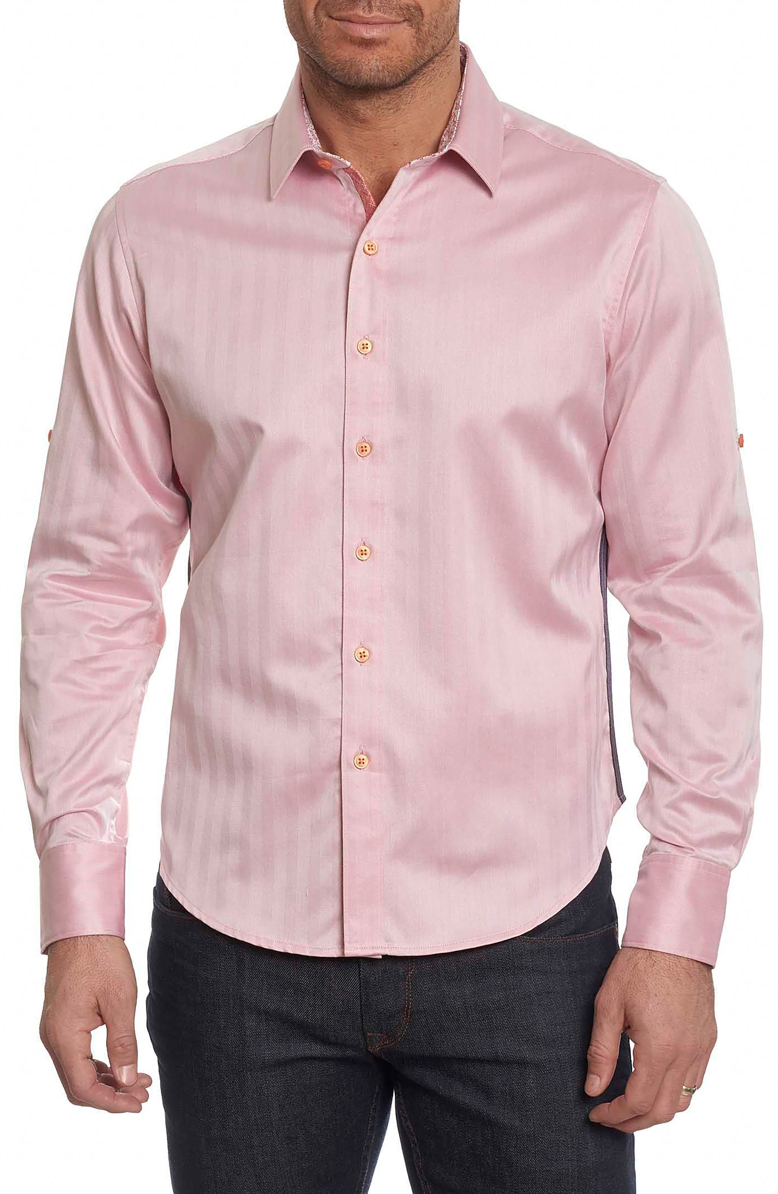 Canton Classic Fit Herringbone Sport Shirt,                         Main,                         color, Salmon