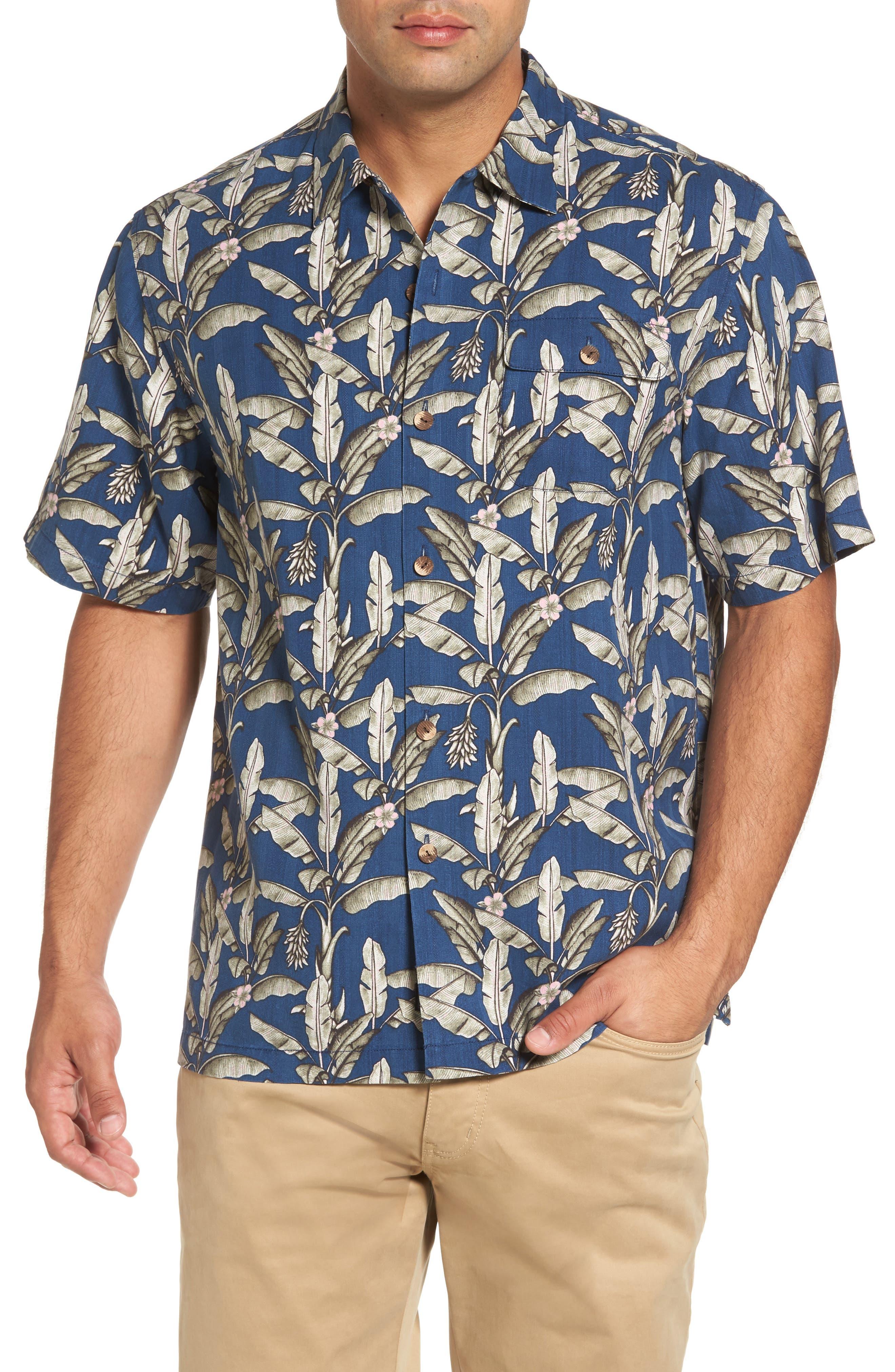 Sahara Fronds Silk Woven Shirt,                             Main thumbnail 1, color,                             Bering Blue