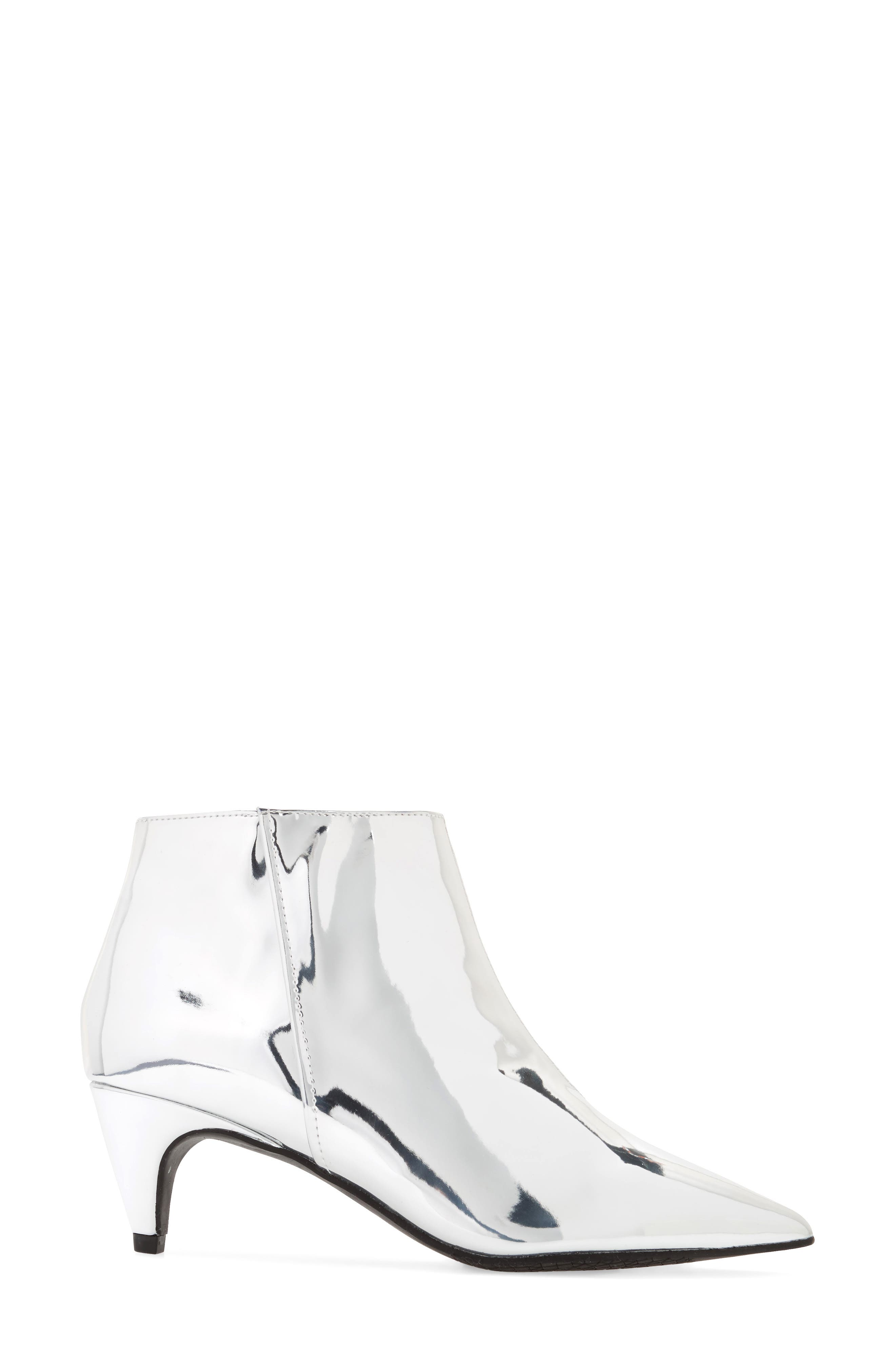Major Pointy Toe Bootie,                             Alternate thumbnail 3, color,                             Silver Mirror Faux Leather