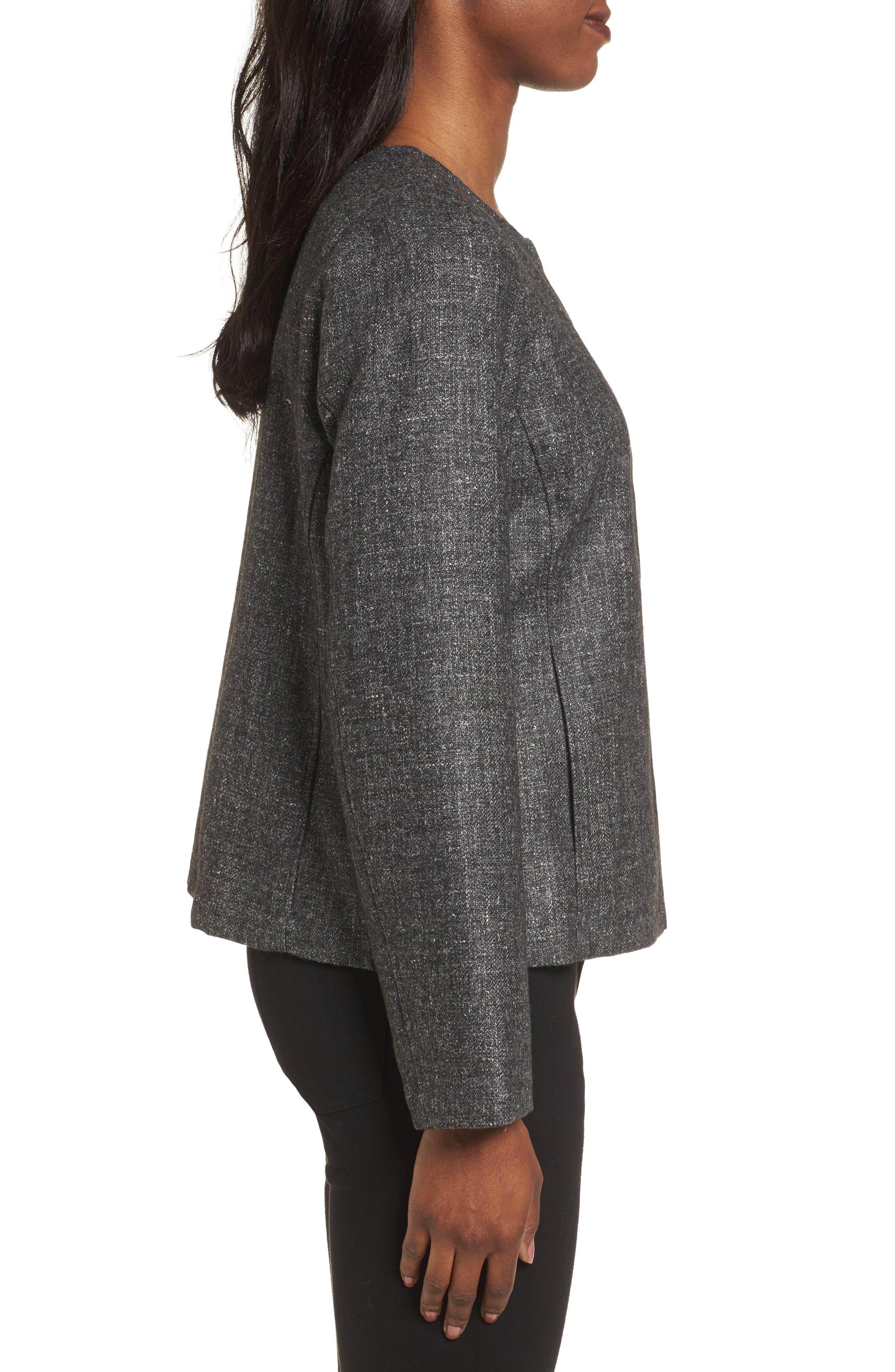 Tweed Jacket,                             Alternate thumbnail 3, color,                             Charcoal