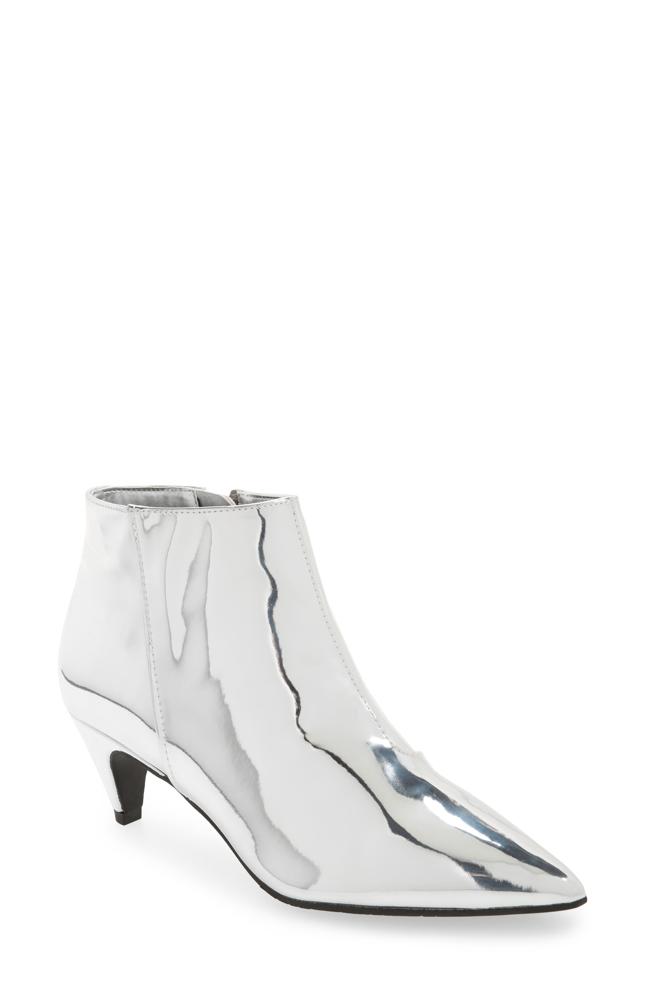 Major Pointy Toe Bootie,                         Main,                         color, Silver Mirror Faux Leather