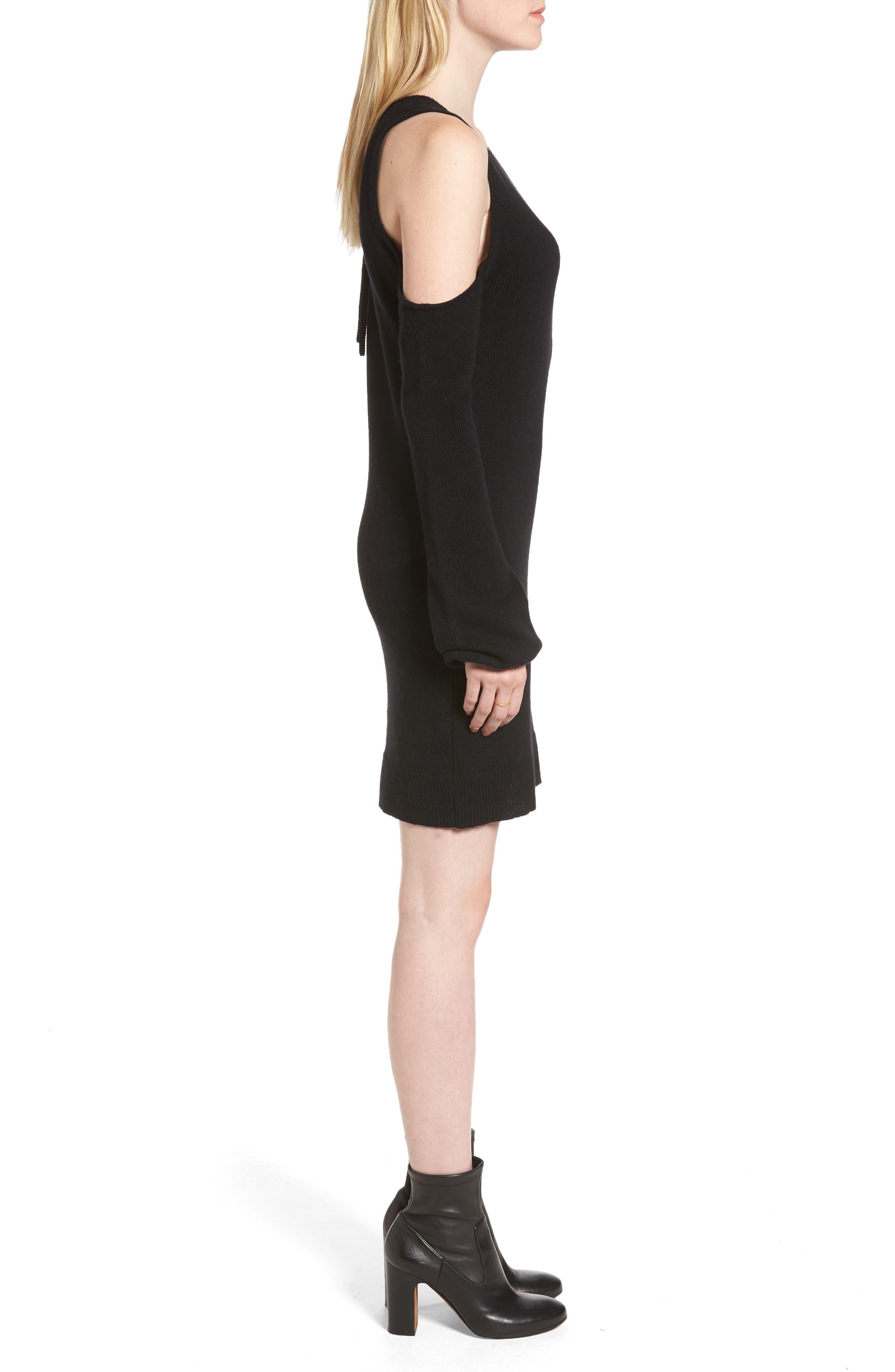 Cold Shoulder Sweater Dress,                             Alternate thumbnail 3, color,                             Black