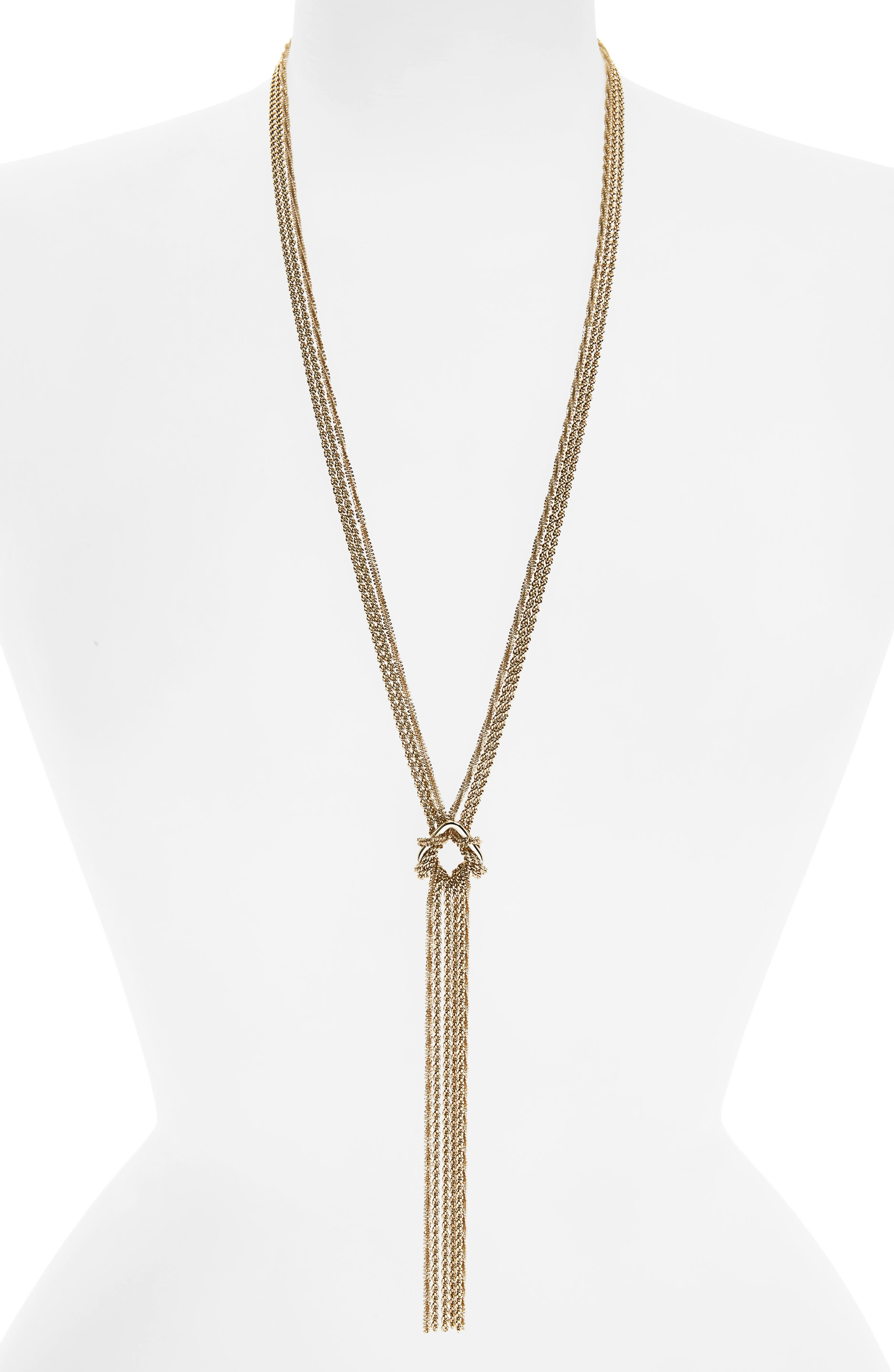 Textured Chain Lariat Necklace,                             Main thumbnail 1, color,                             Gold