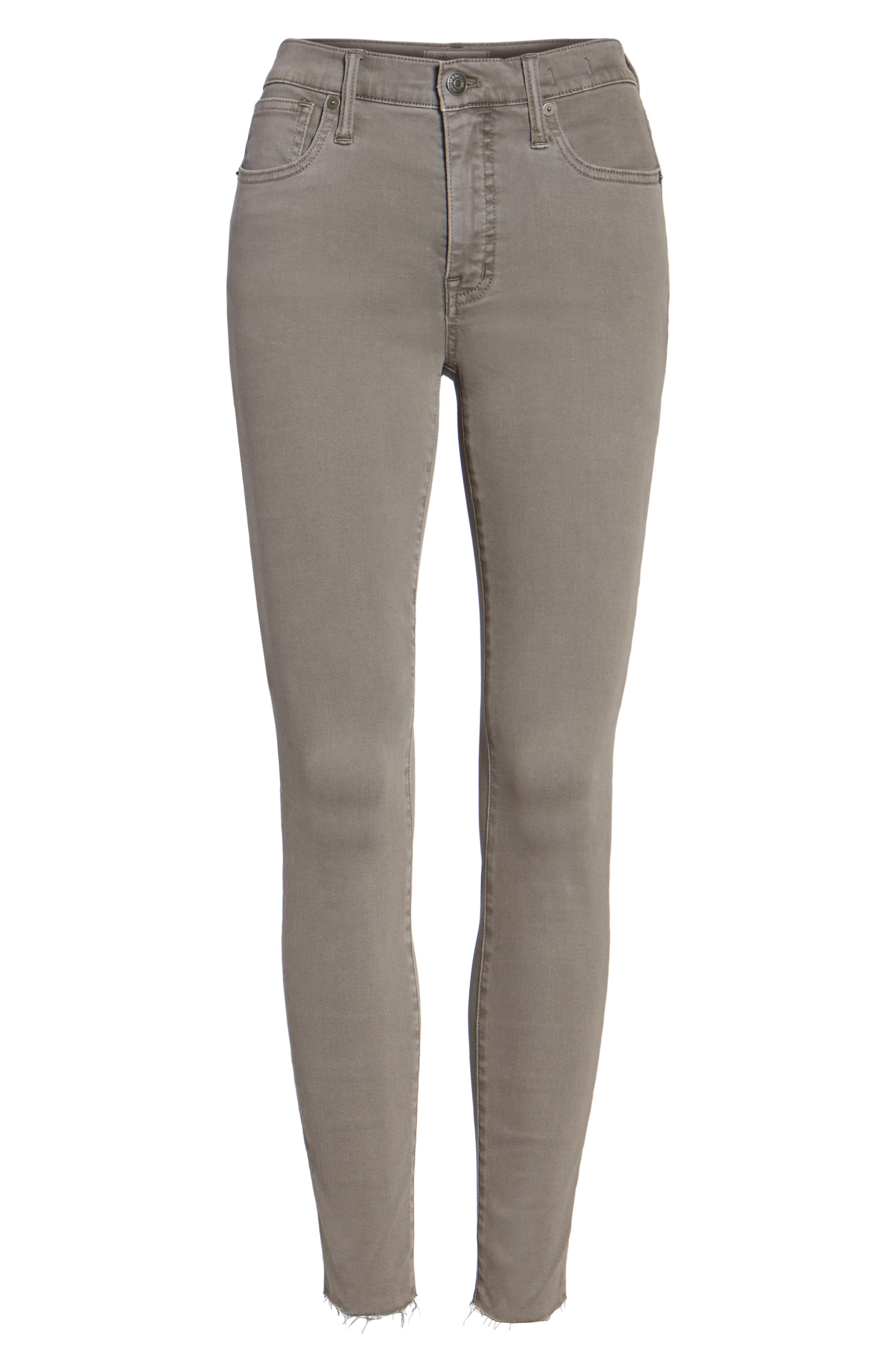 9-Inch High-Rise Skinny Jeans: Raw-Hem Garment-Dyed Edition,                             Main thumbnail 1, color,                             Grey Evening