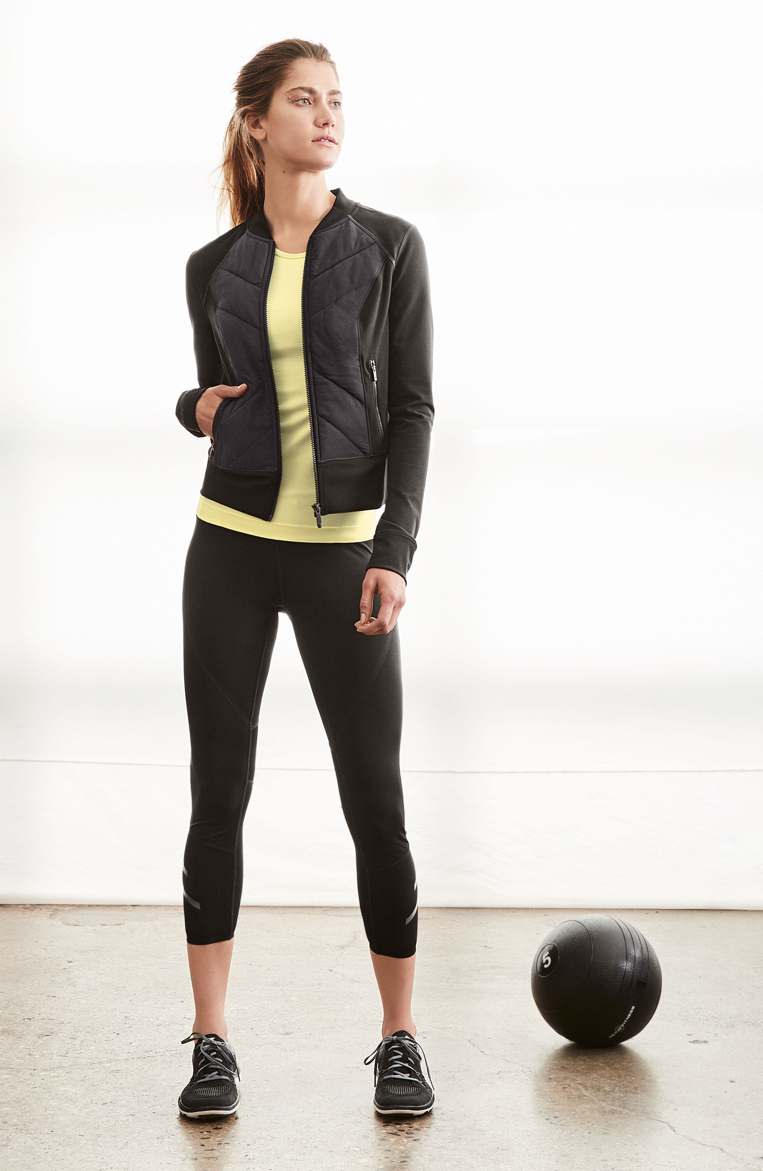 Zella Jacket, Tank & Sports Bra Outfit with Accessories