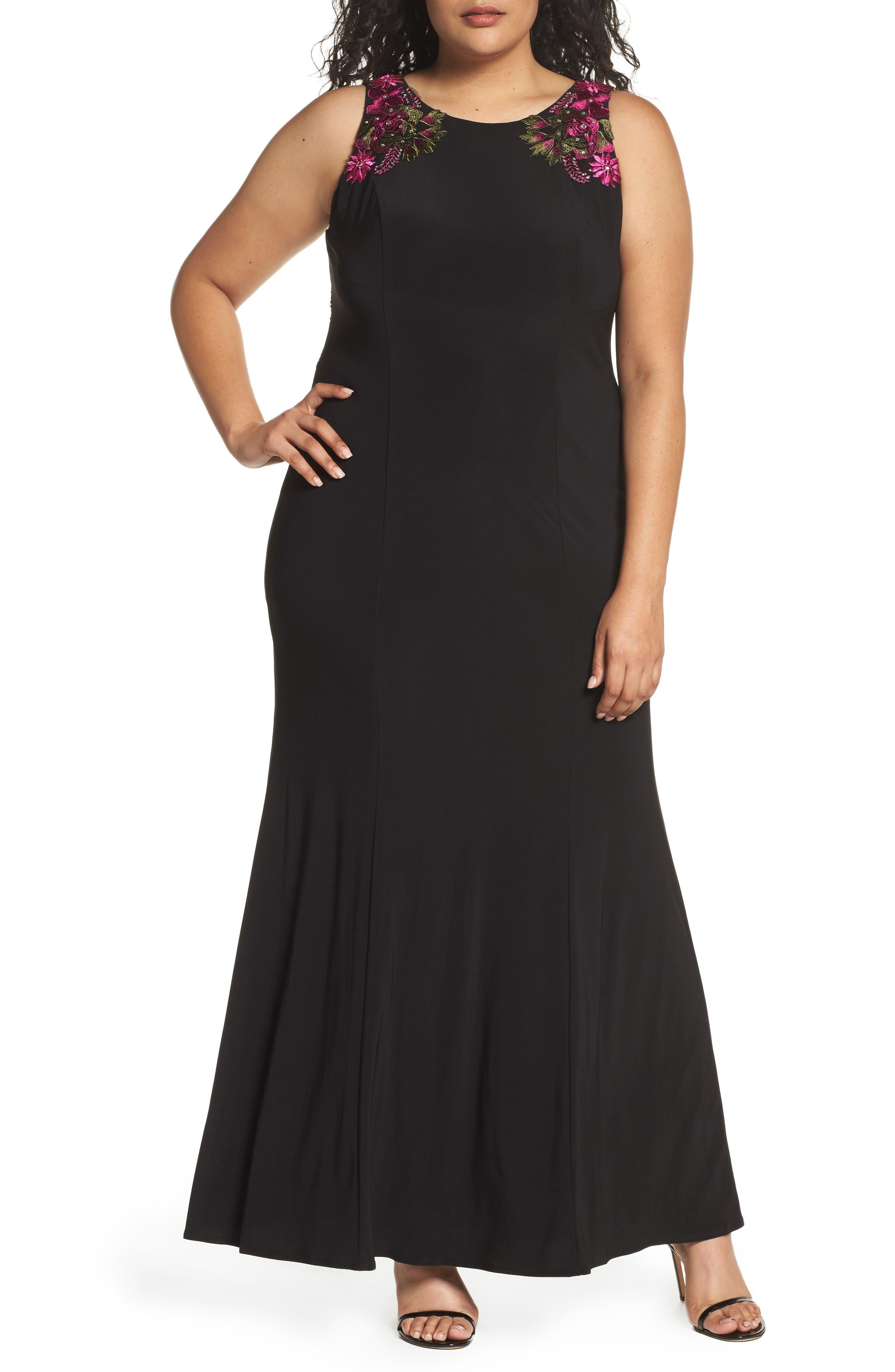 Embellished Sheath Gown,                         Main,                         color, Black Multi