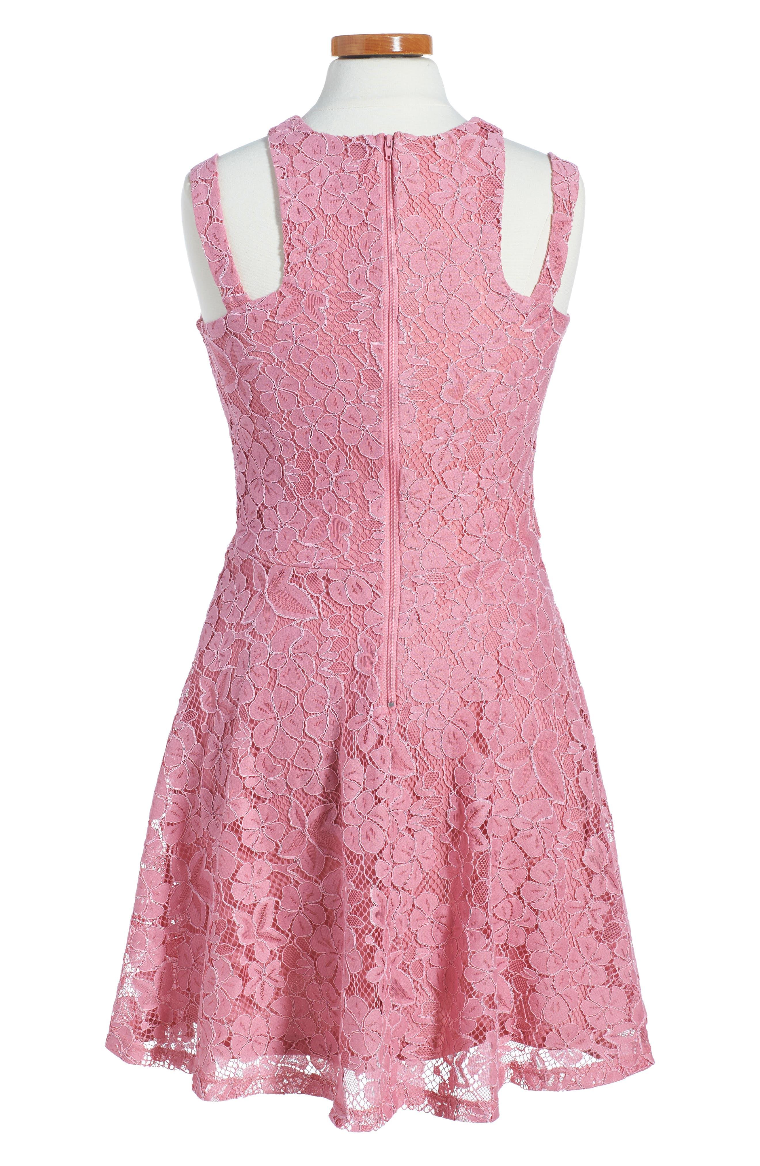 Alternate Image 2  - Penelope Tree Lace Sleeveless Dress (Big Girls)