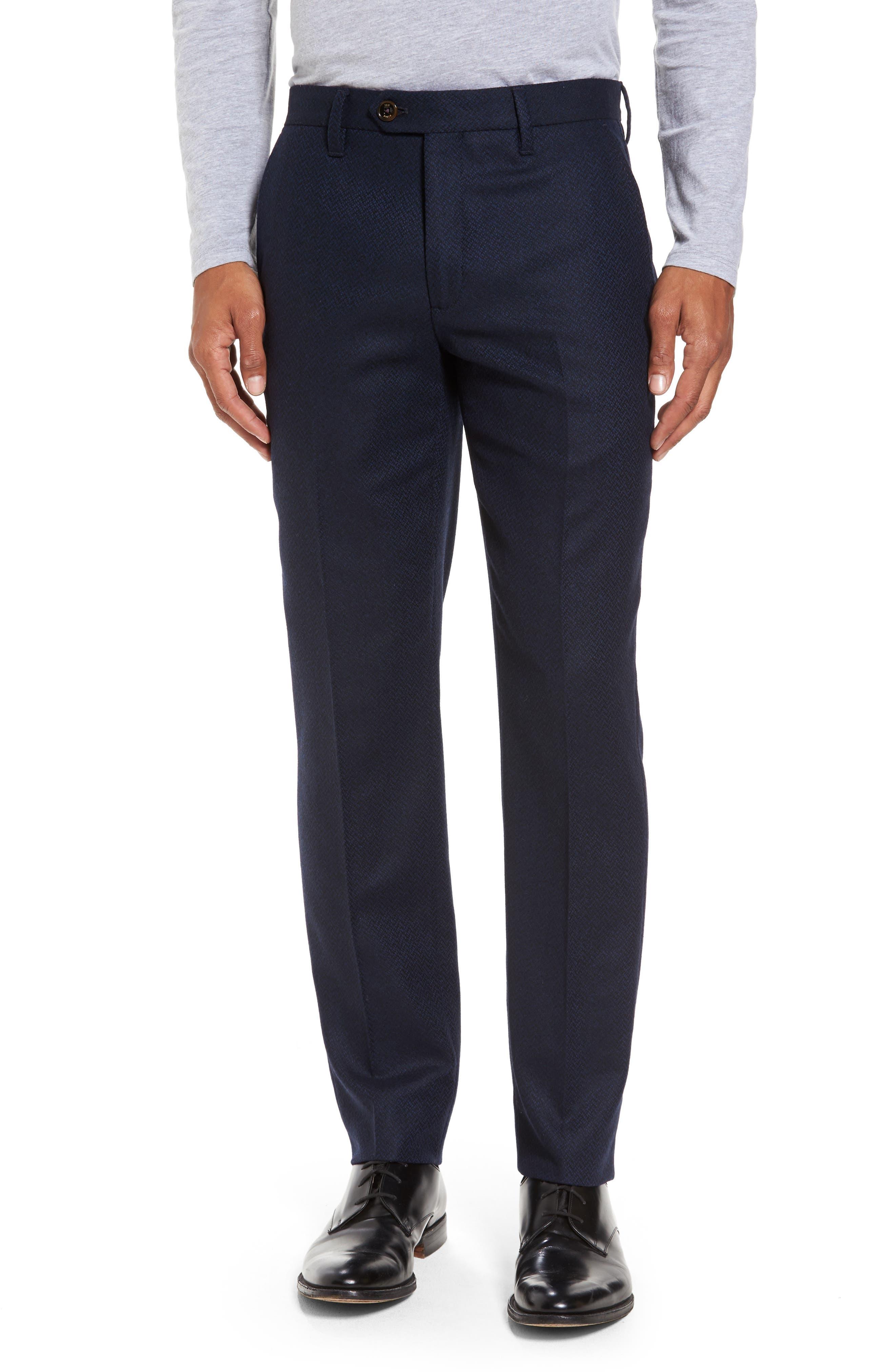 Glentro Semi Plain Wool Blend Trousers,                         Main,                         color, Navy