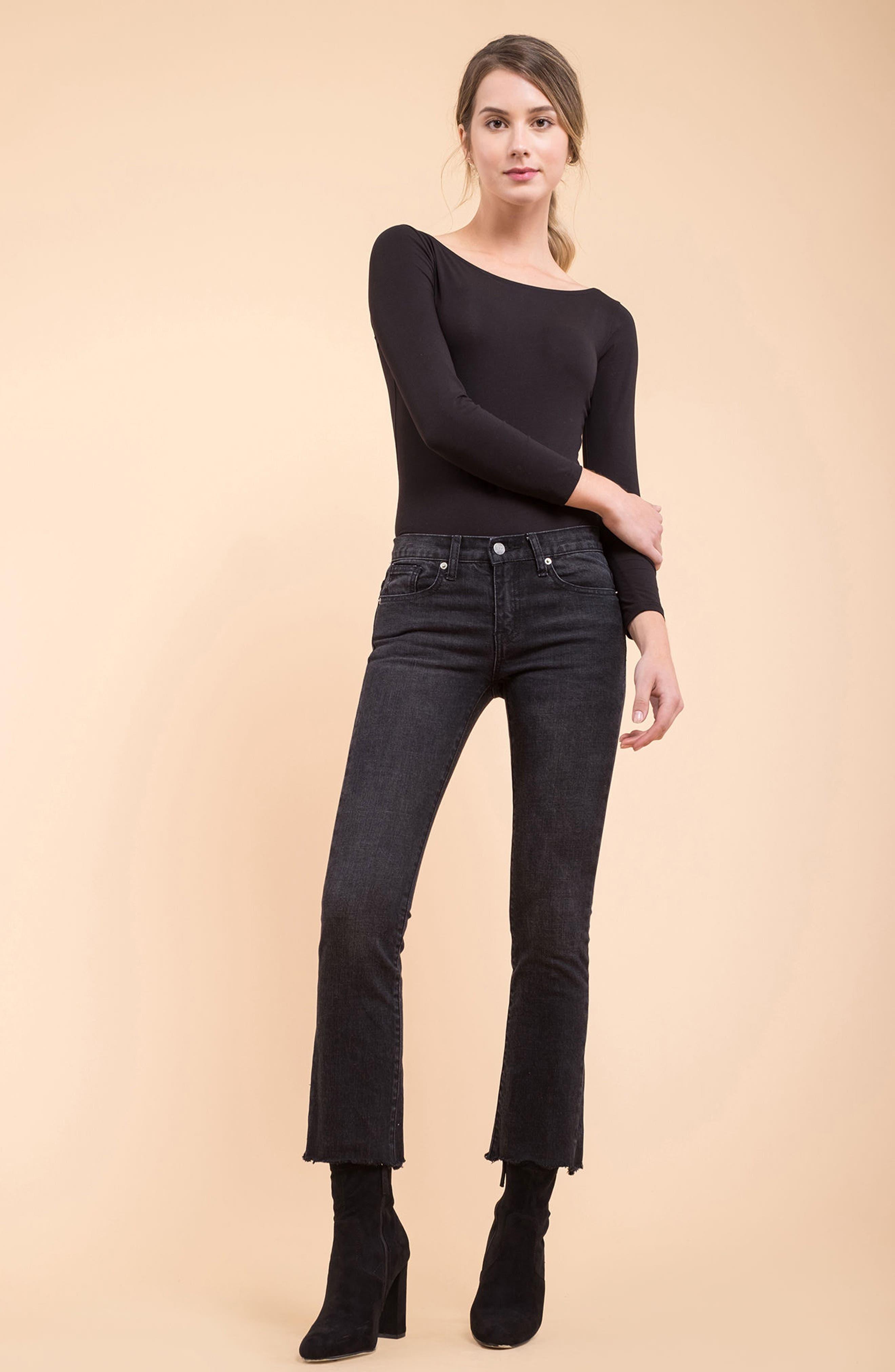 Hermosa Fray Hem Ankle Skinny Jeans,                             Alternate thumbnail 2, color,                             Black