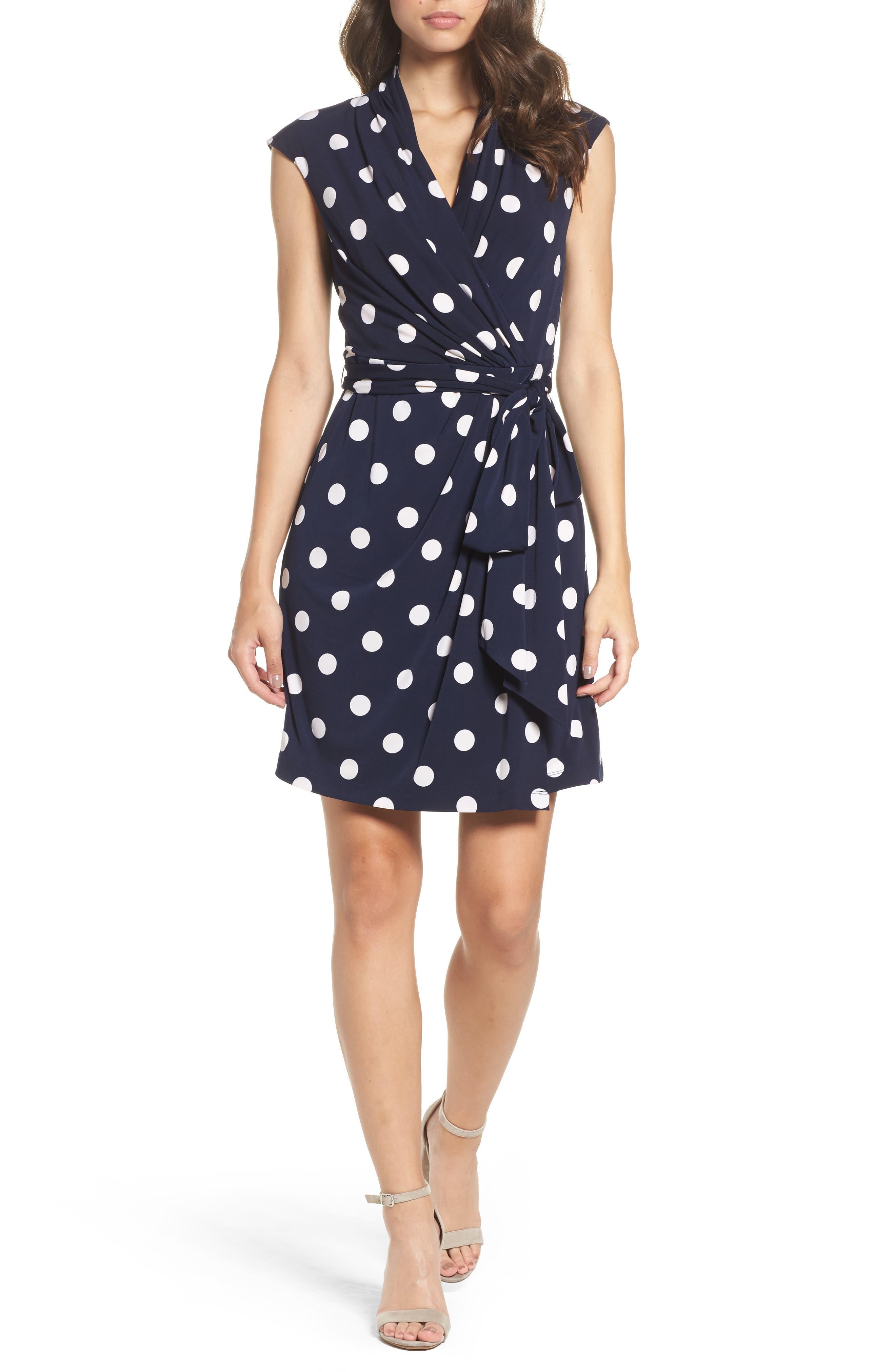 Polka Dot Jersey Faux Wrap Dress,                         Main,                         color, Navy