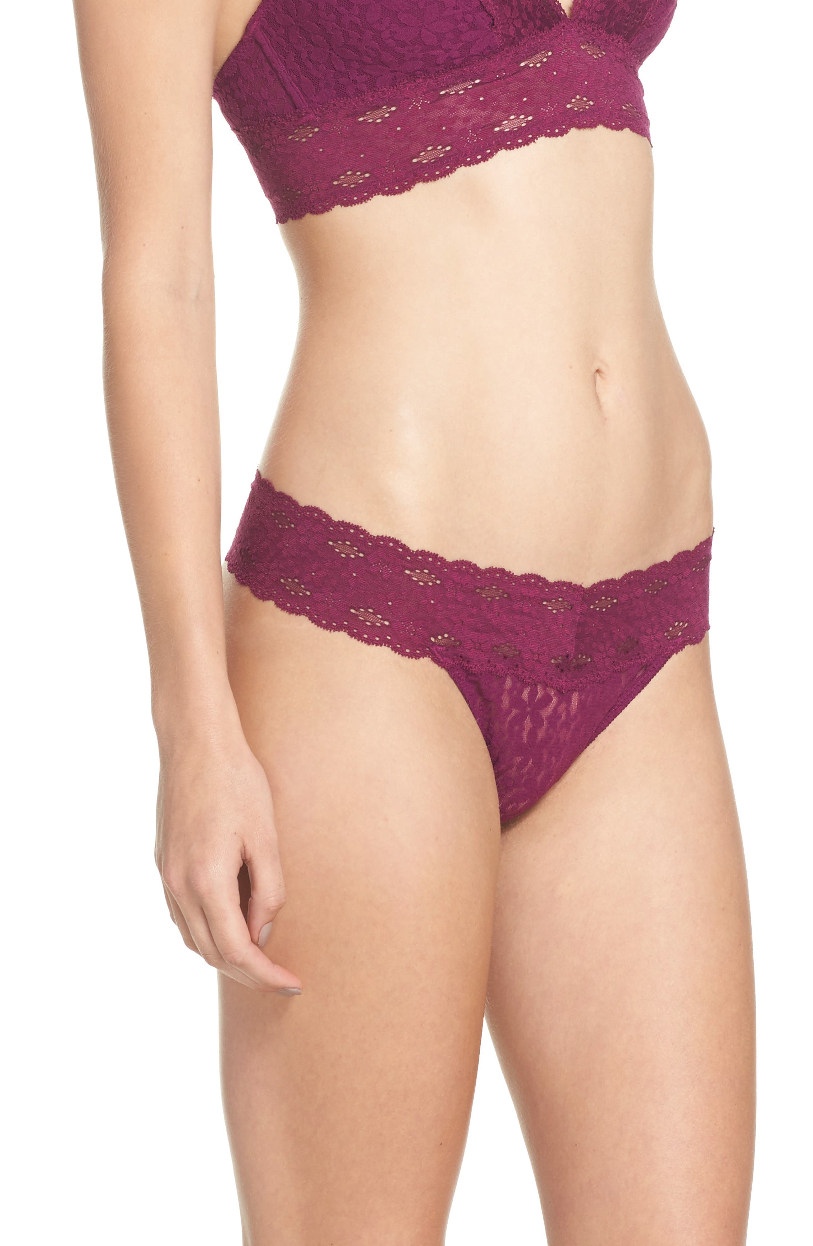 Alternate Image 3  - Wacoal Halo Lace Thong (3 for $39)