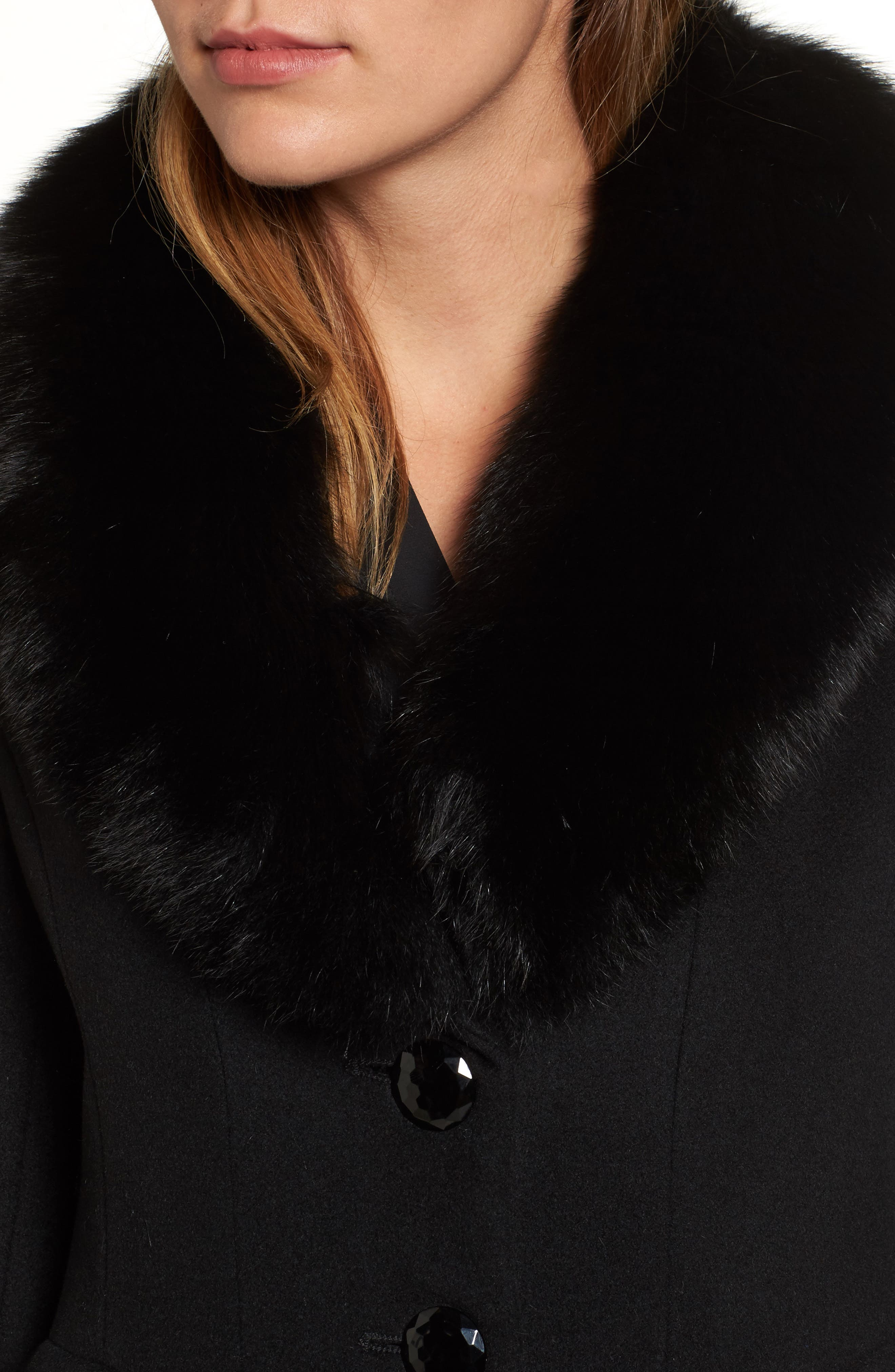 Couture Long Wool Blend Coat with Genuine Fox Fur Collar,                             Alternate thumbnail 4, color,                             Black