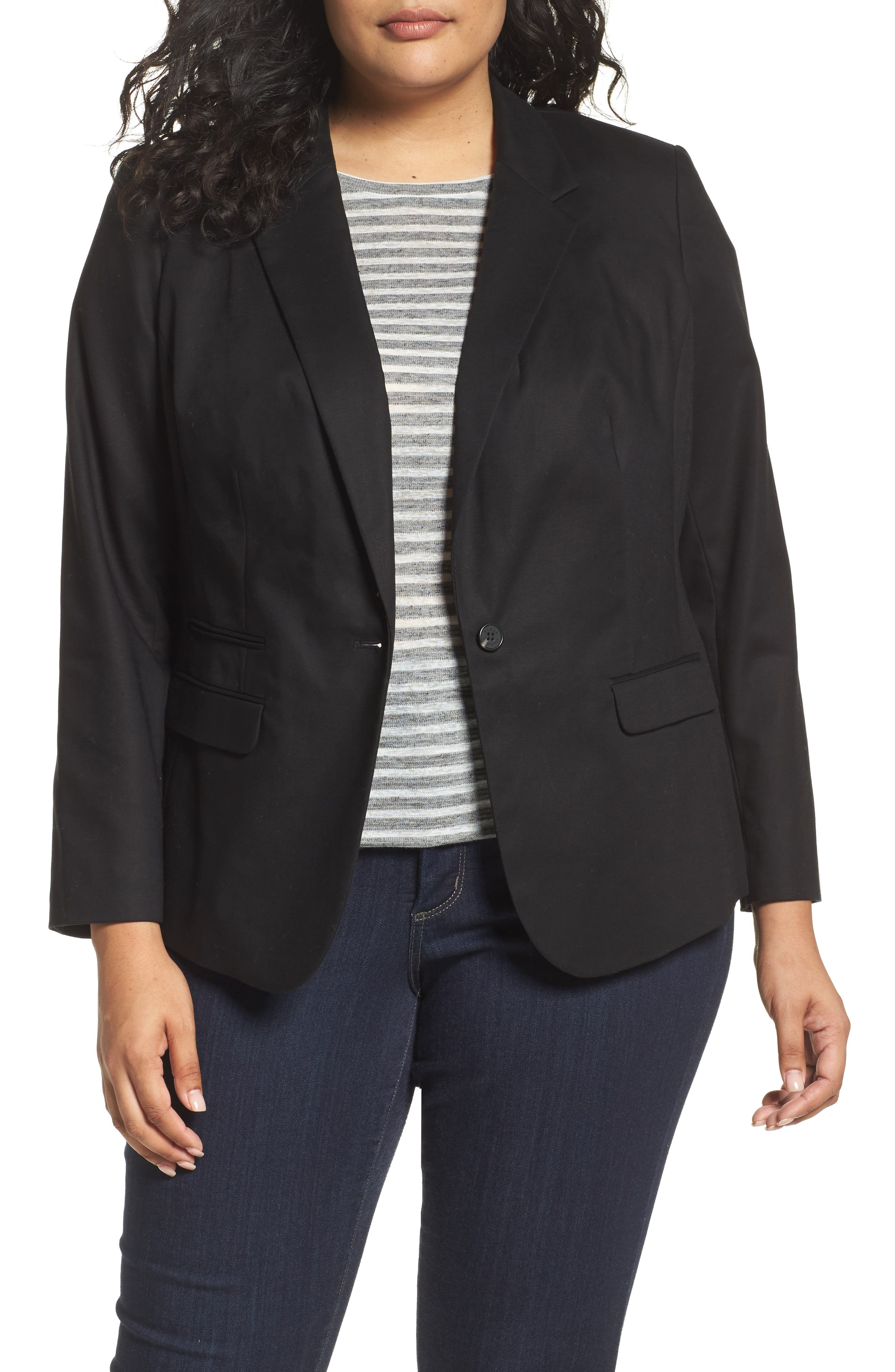 One-Button Blazer,                         Main,                         color, Rich Black