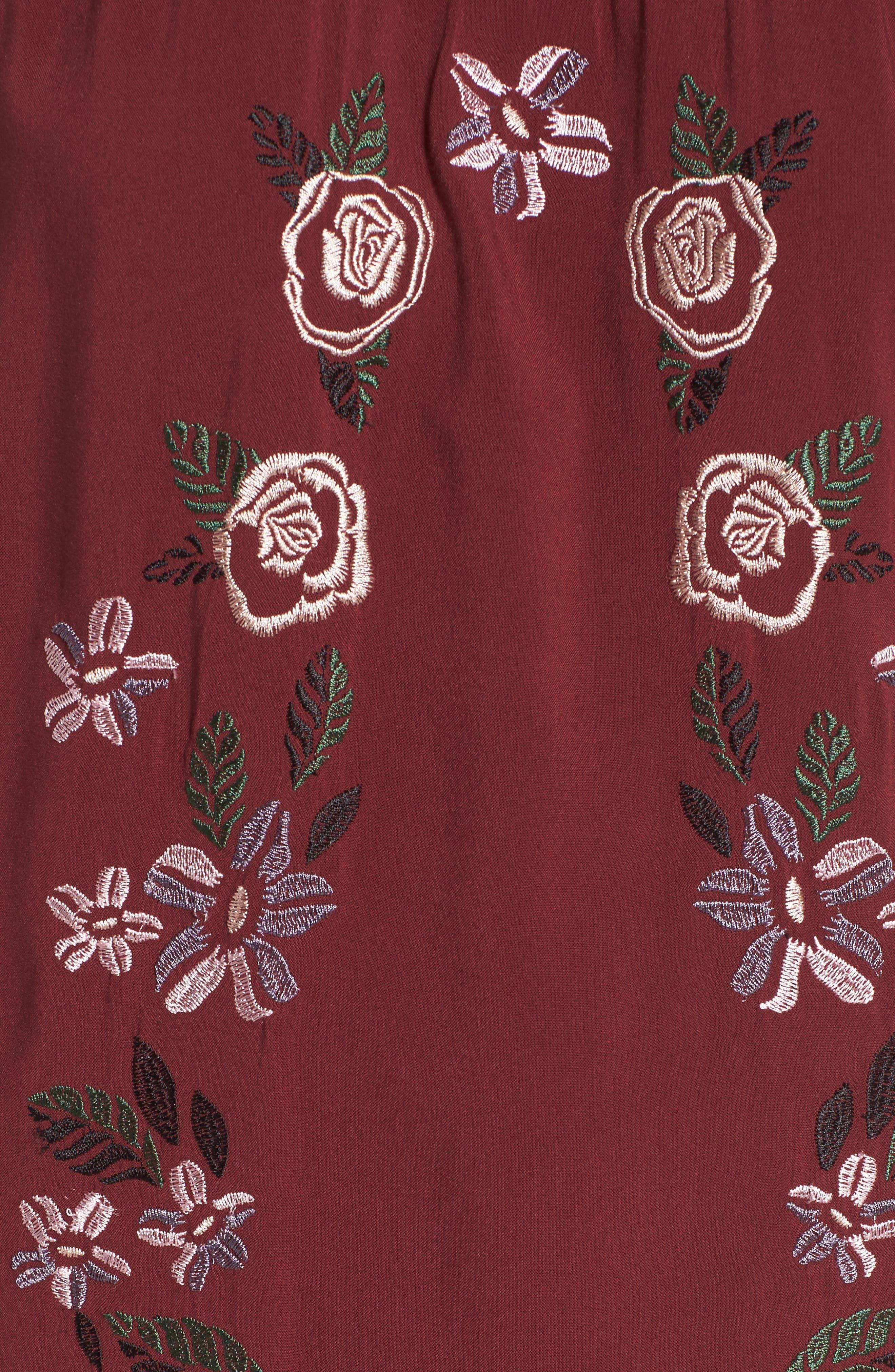 Embroidered Dress,                             Alternate thumbnail 5, color,                             Zinfandel