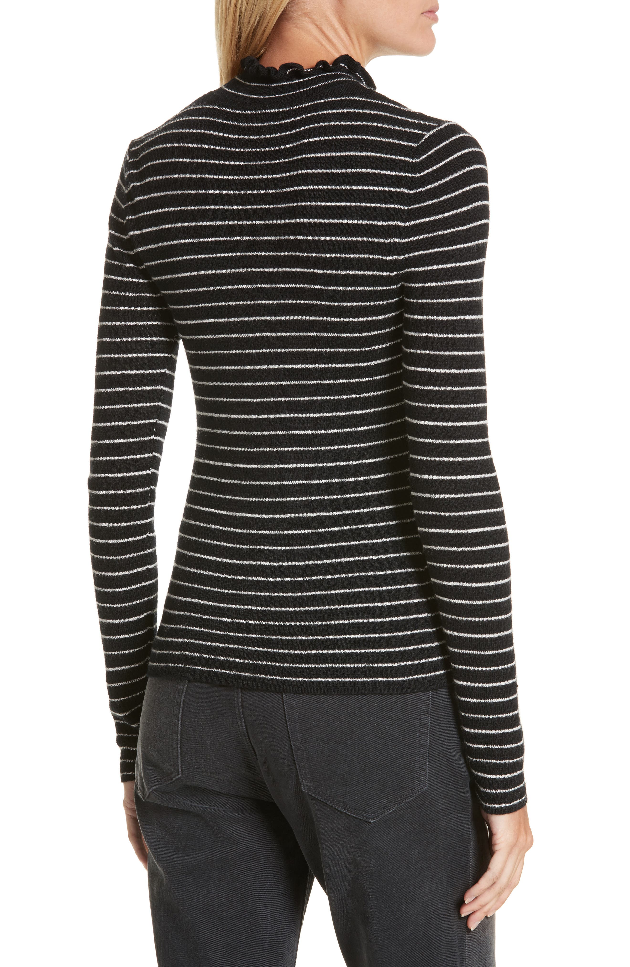 Merino Wool Pullover,                             Alternate thumbnail 2, color,                             Black Stripe