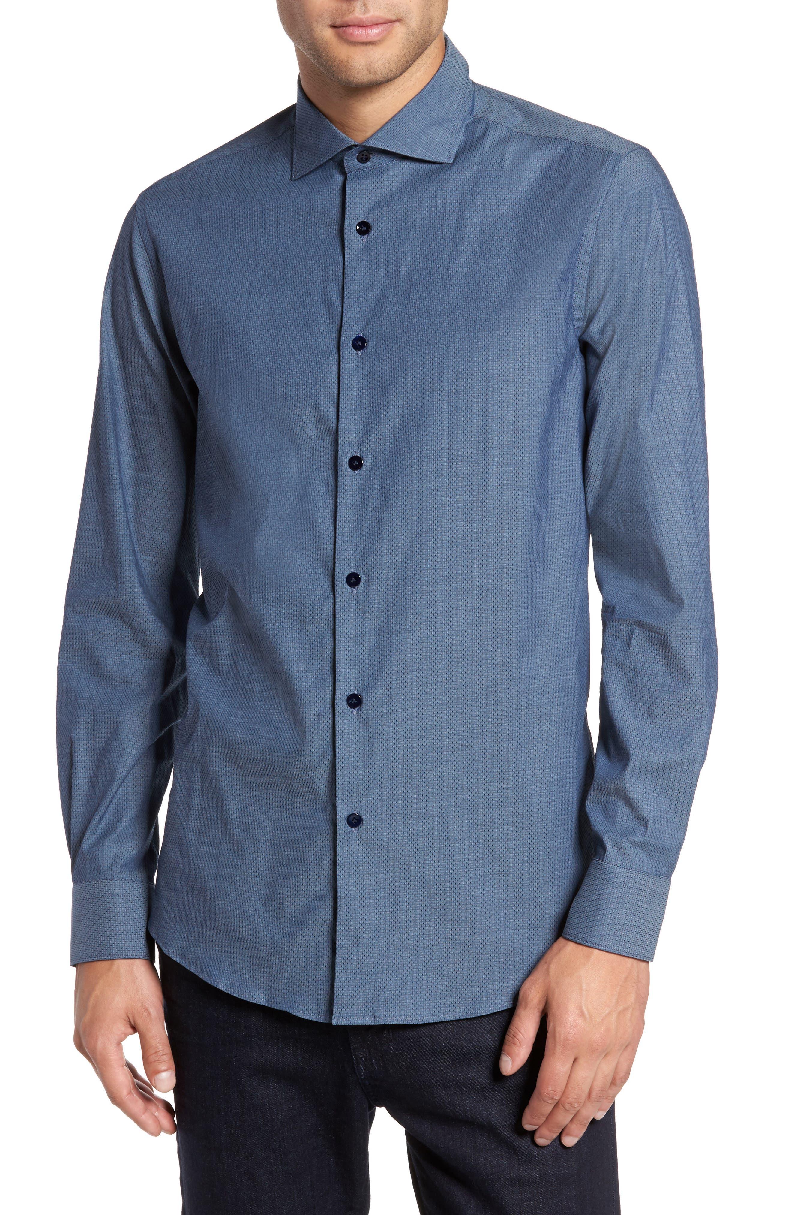 Mini Brick Check Sport Shirt,                         Main,                         color, Blue Navy