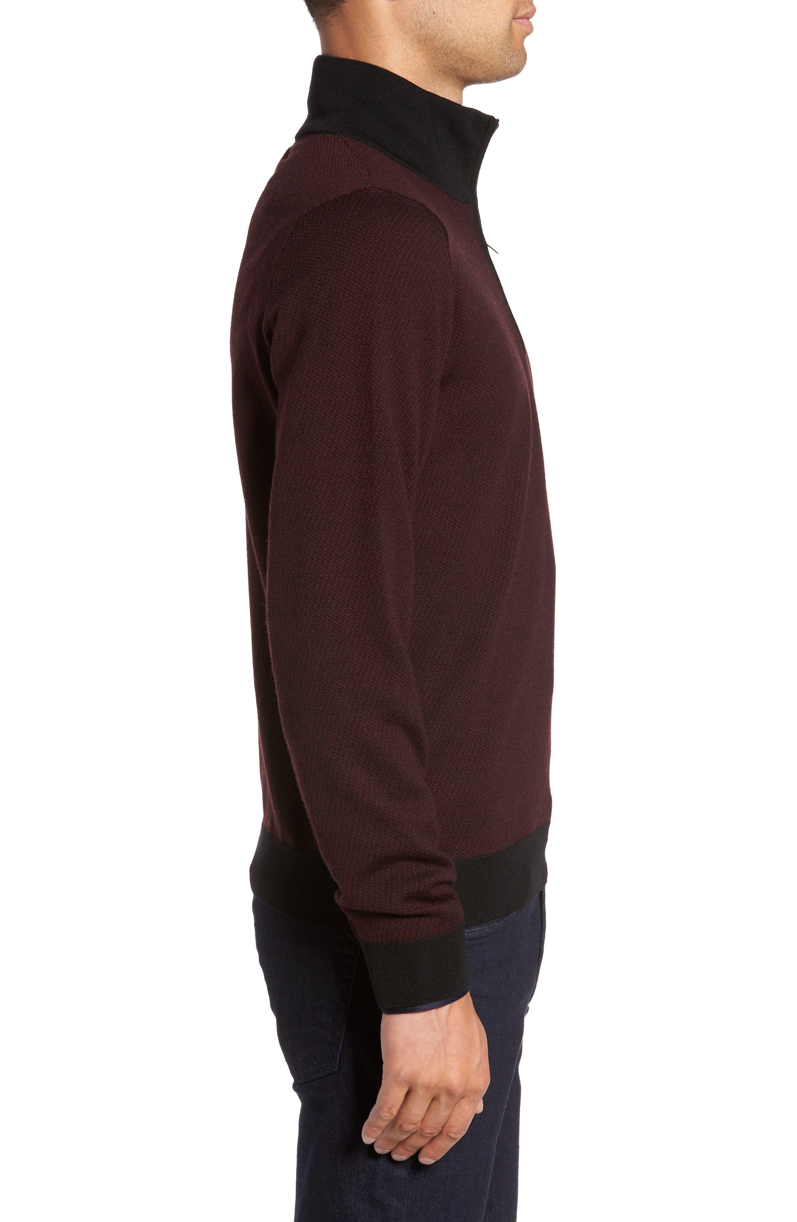 Wool Quarter Zip Mock Neck Sweater,                             Alternate thumbnail 3, color,                             Burgundy