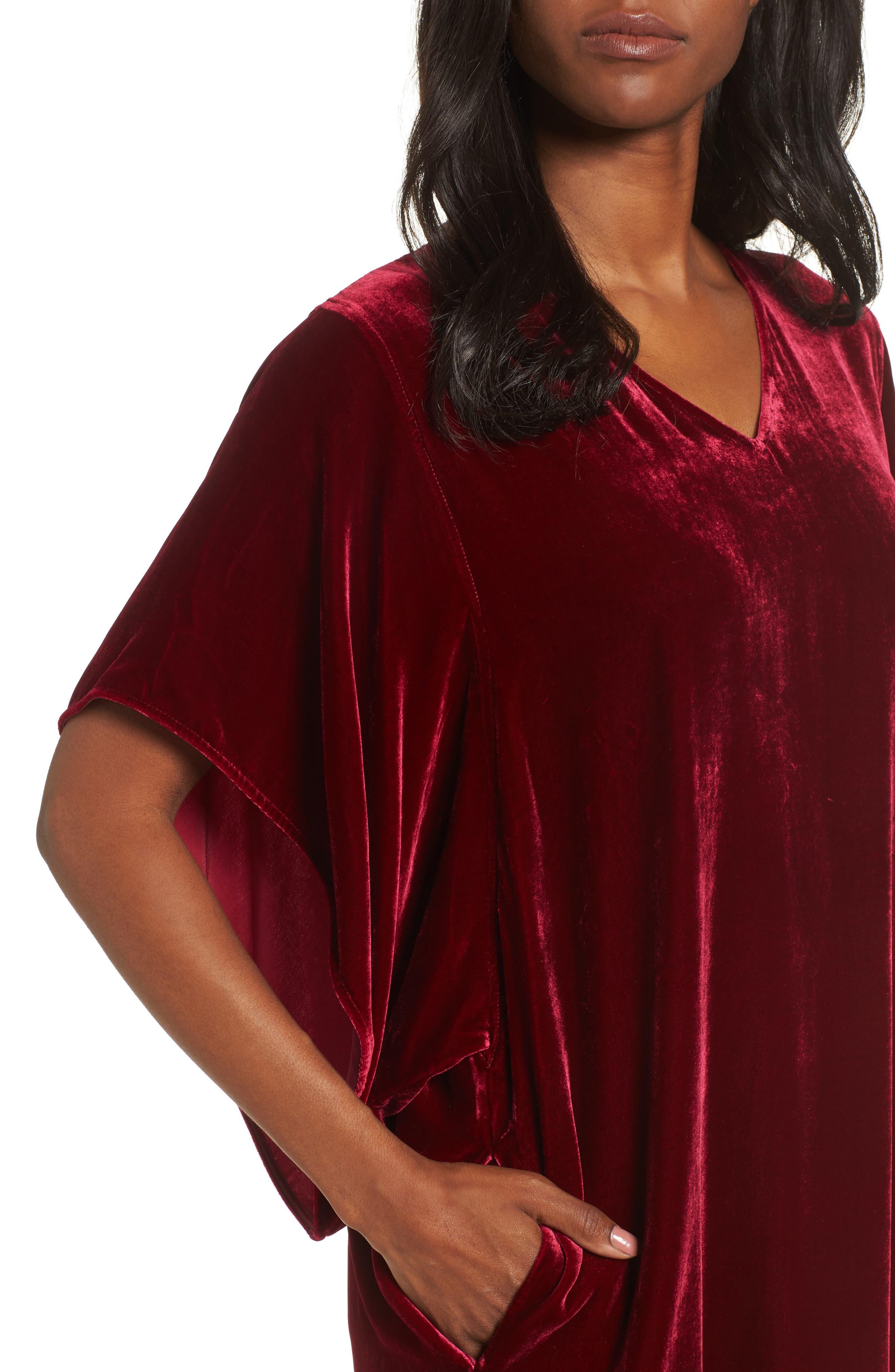 Alternate Image 4  - Eileen Fisher V-Neck Velvet Kimono Dress