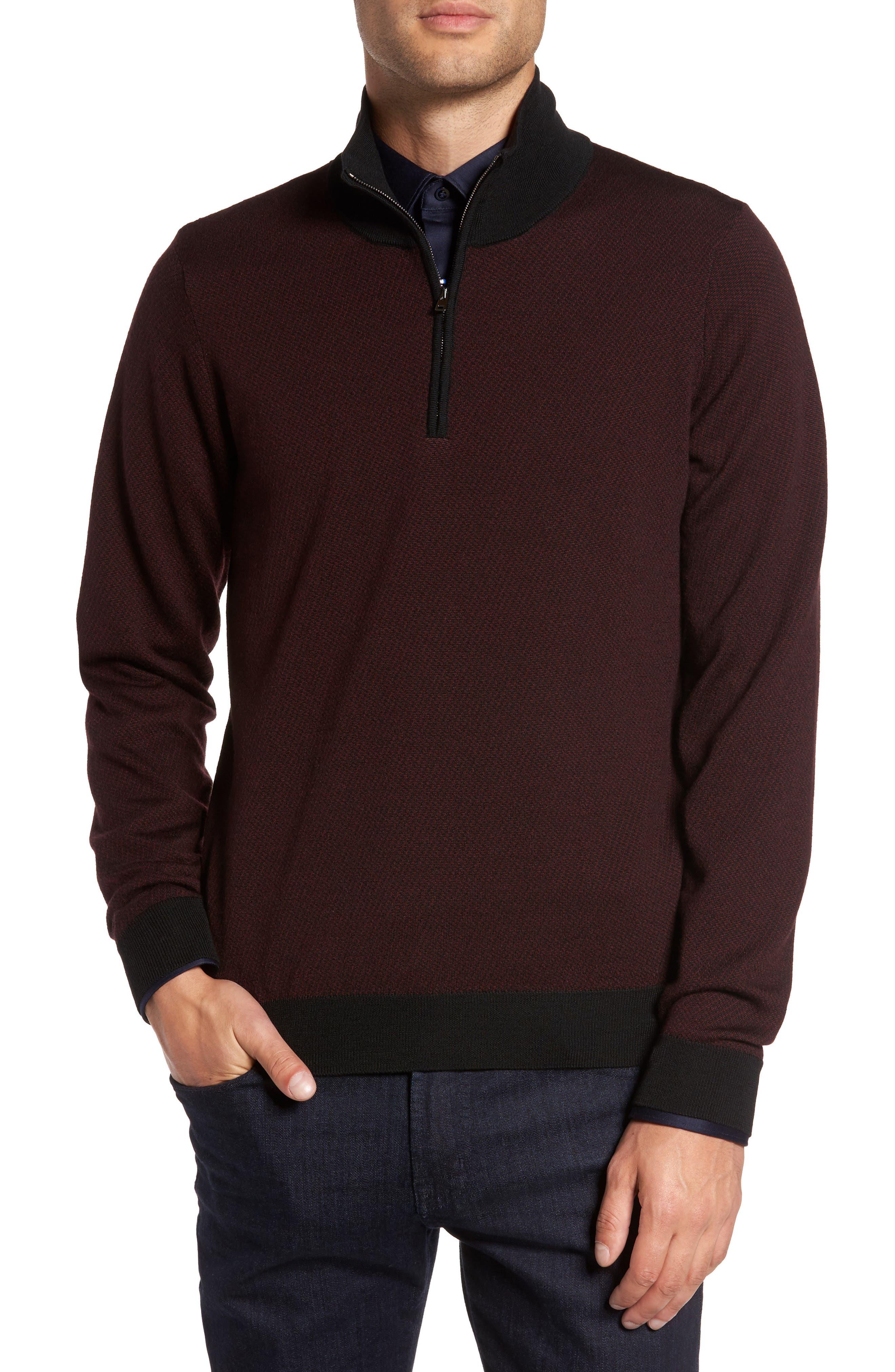 Wool Quarter Zip Mock Neck Sweater,                             Main thumbnail 1, color,                             Burgundy
