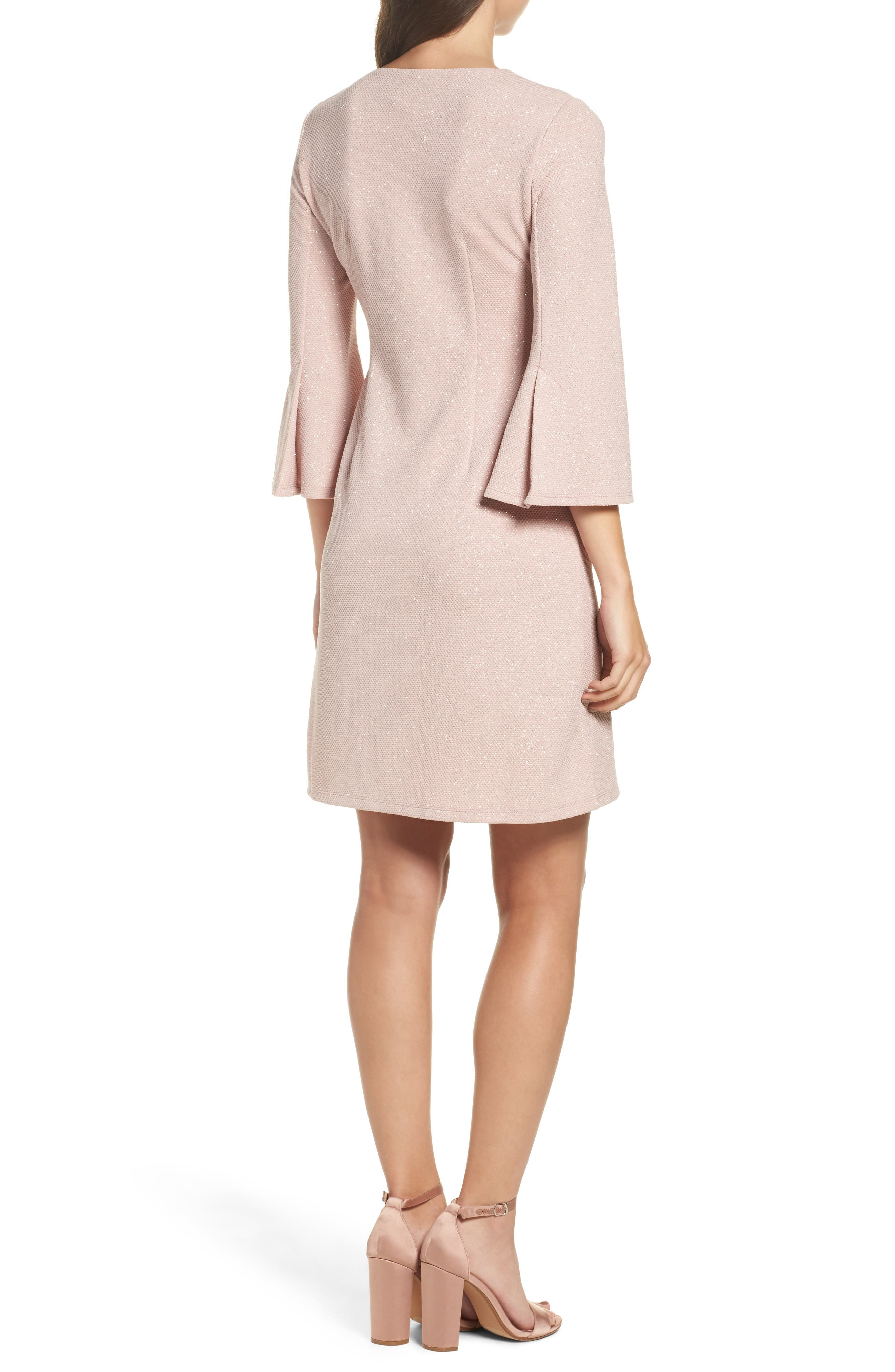Bell Sleeve Shift Dress,                             Alternate thumbnail 2, color,                             Blush